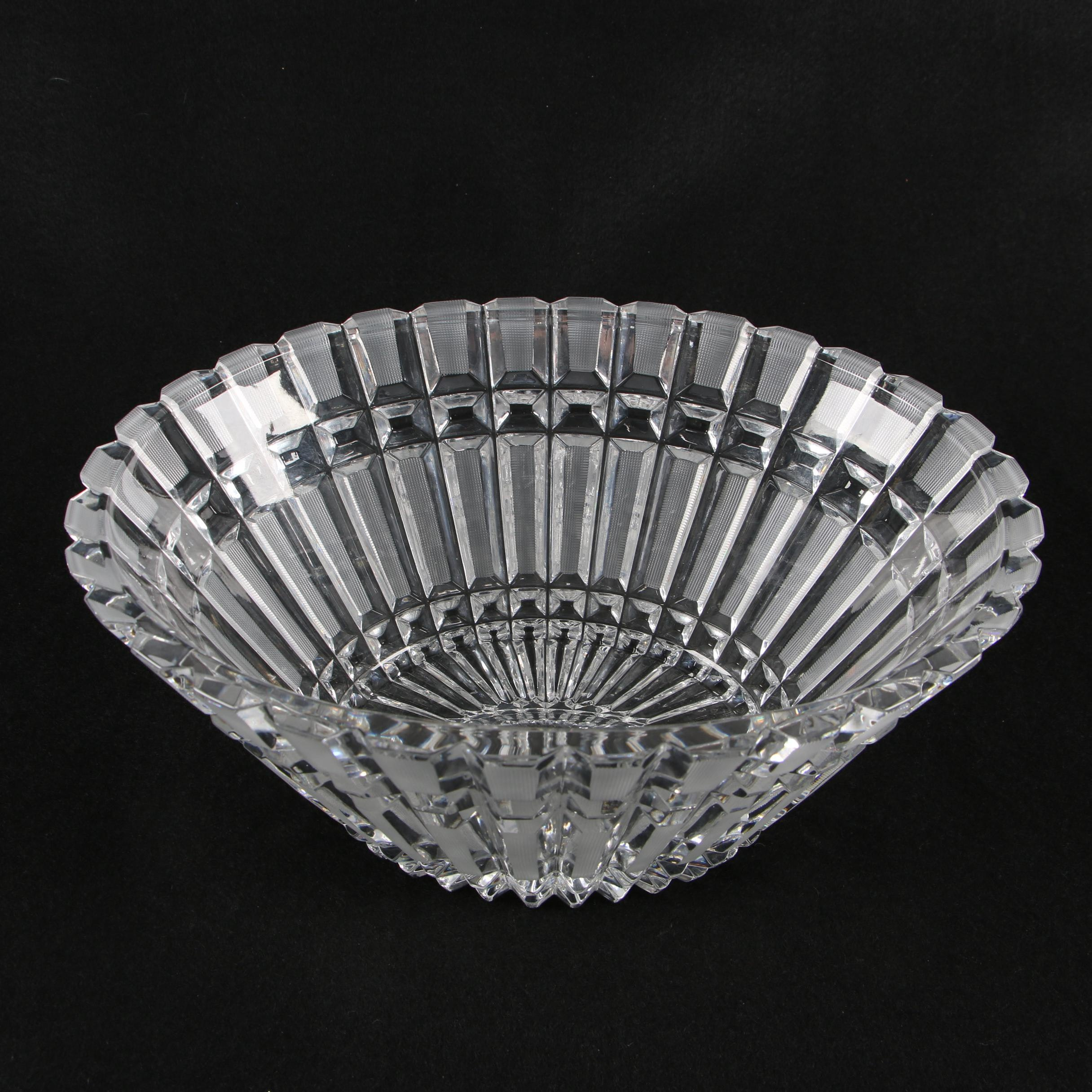Oval Crystal Centerpiece Bowl with Panels of Strawberry Cuts