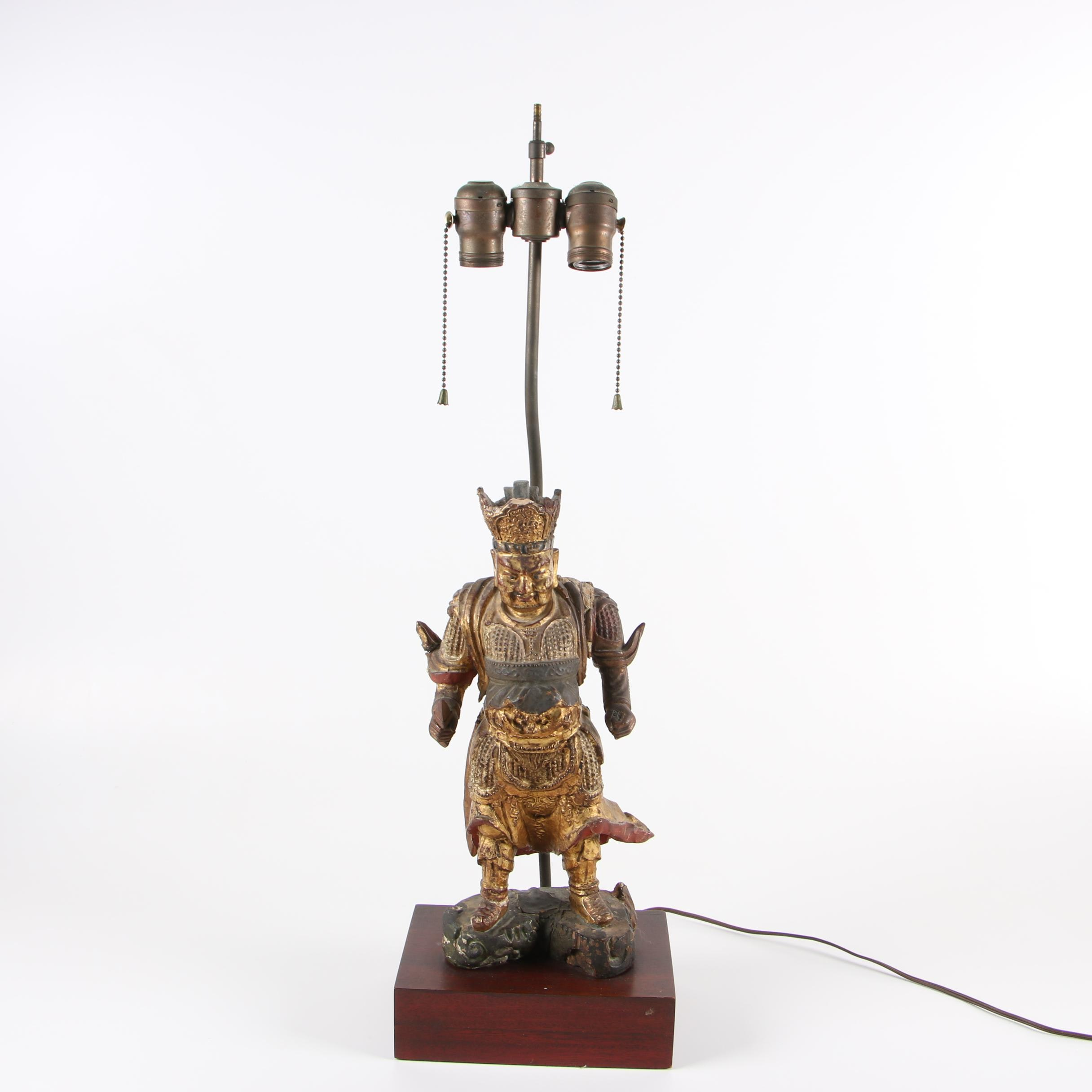 Chinese Chalkware Warrior Table Lamp