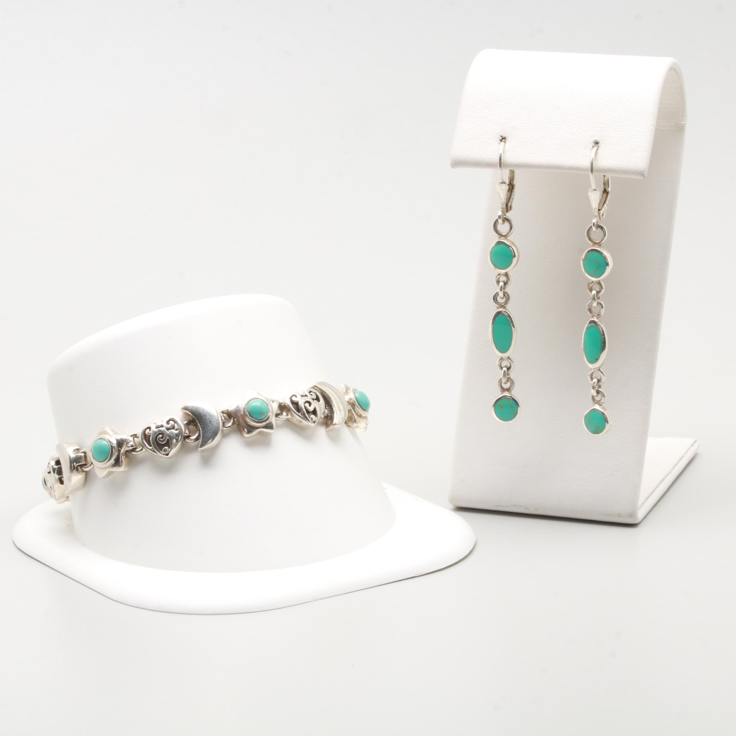 Sterling Silver Jewelry Selection Including Imitation Turquoise