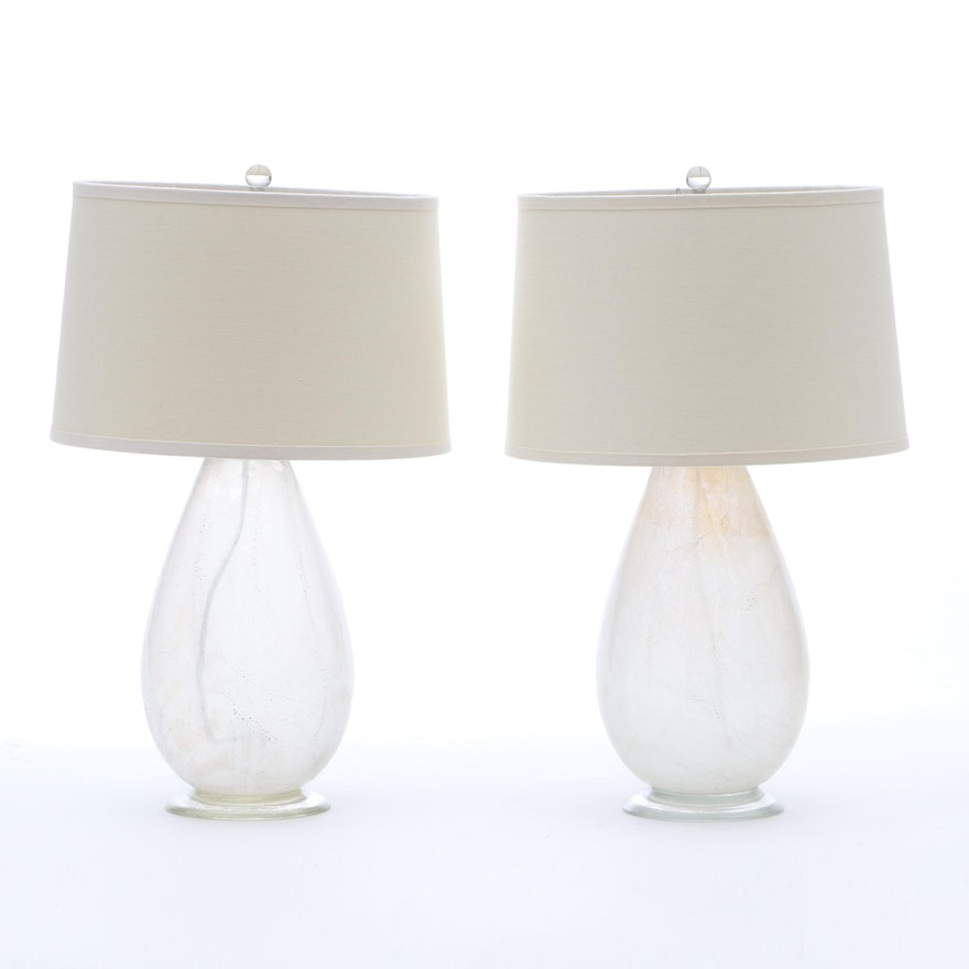 Pair Of Frosted Glass Table Lamps Ebth