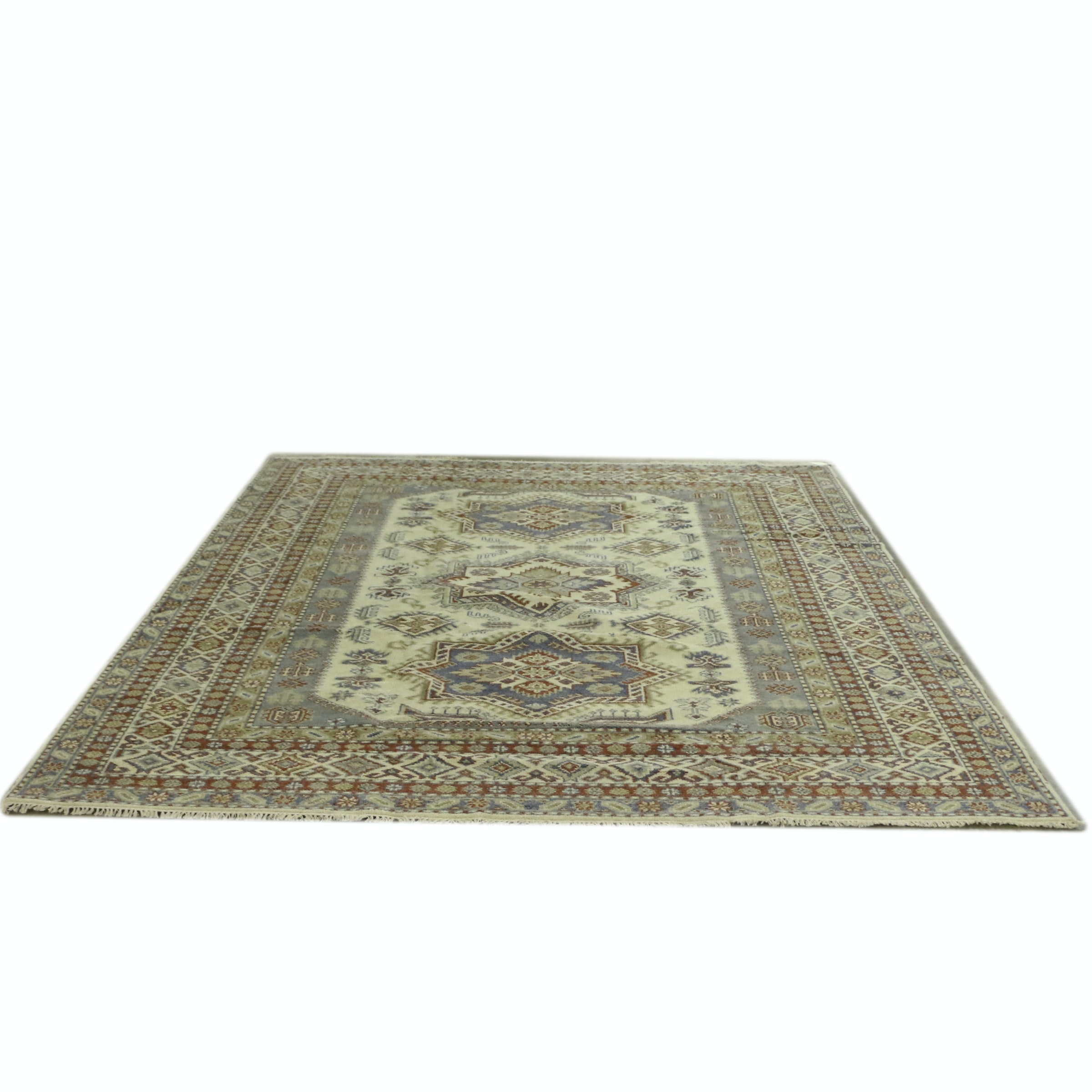 Hand-Knotted Indo-Kazak Wool Room Sized Rug