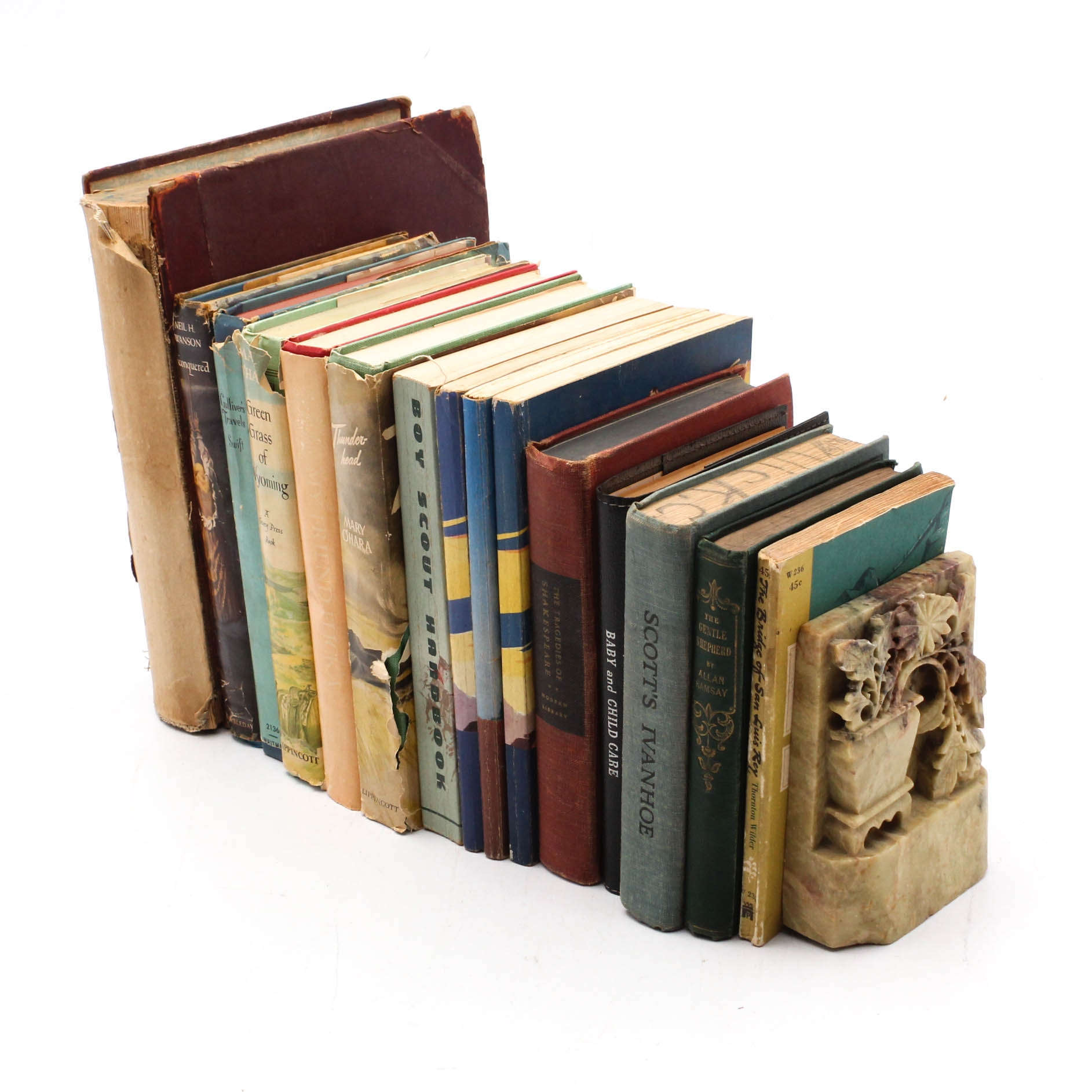 Vintage Books with Chinese Carved Soapstone Bookends