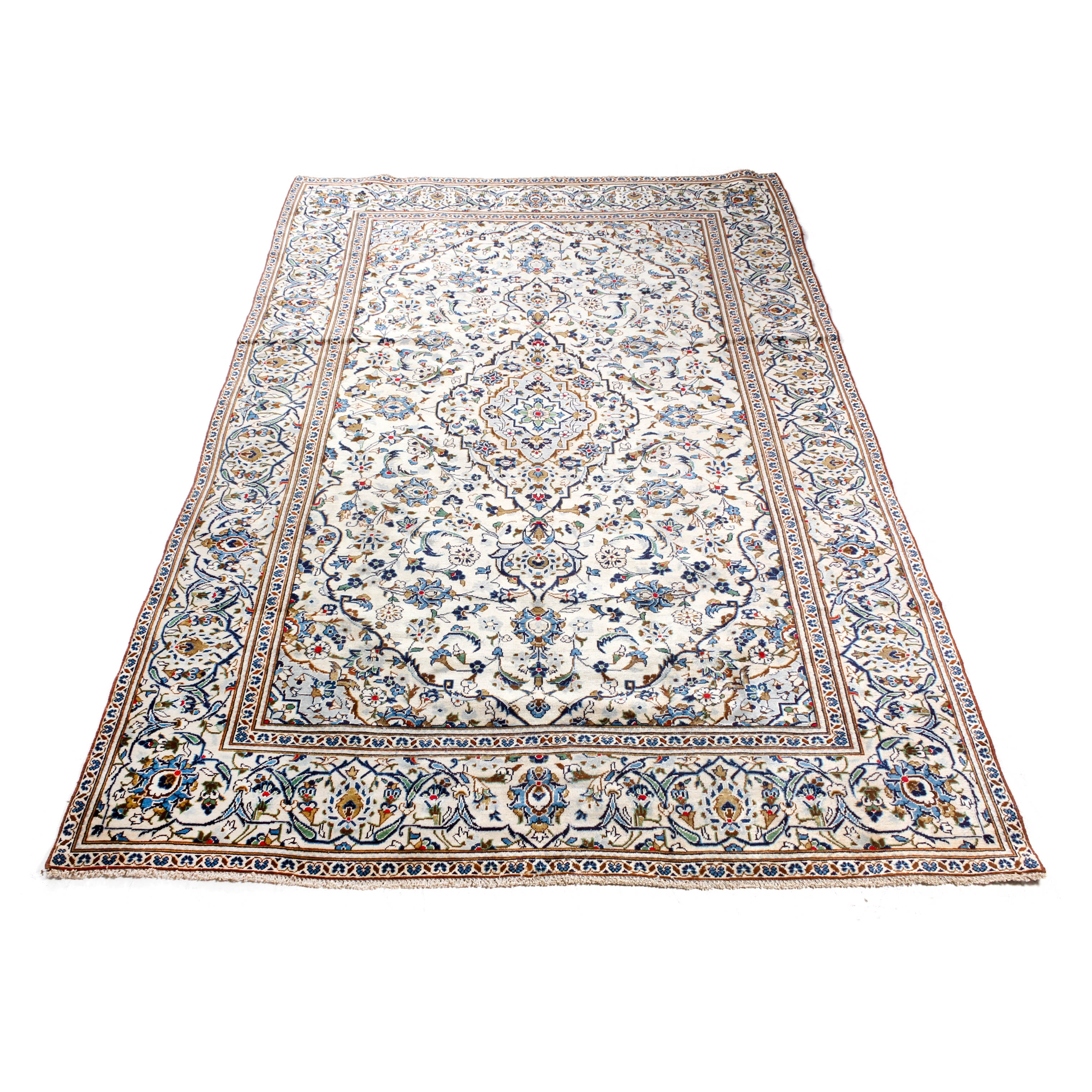 Vintage Hand-Knotted Persian Kashan Room Sized Rug