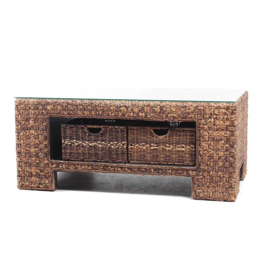 Gl Top Woven Coffee Table With Storage Baskets