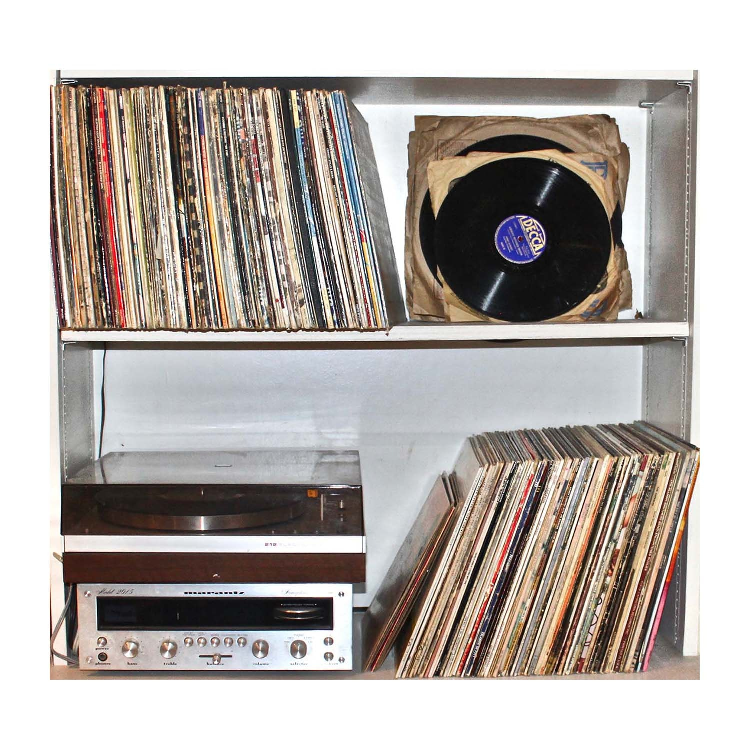 Collection of Vintage Records With Turn Table and Receiver