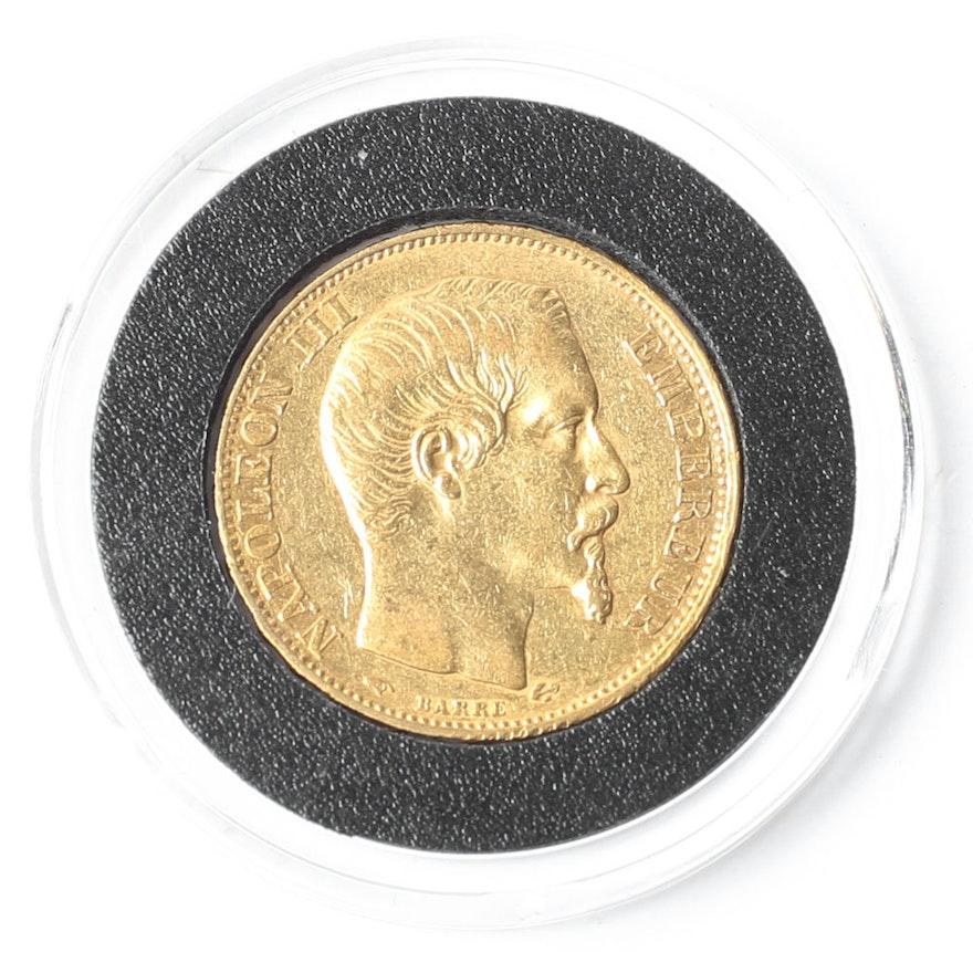 1856-A Napoleon III 20 Francs Gold Coin