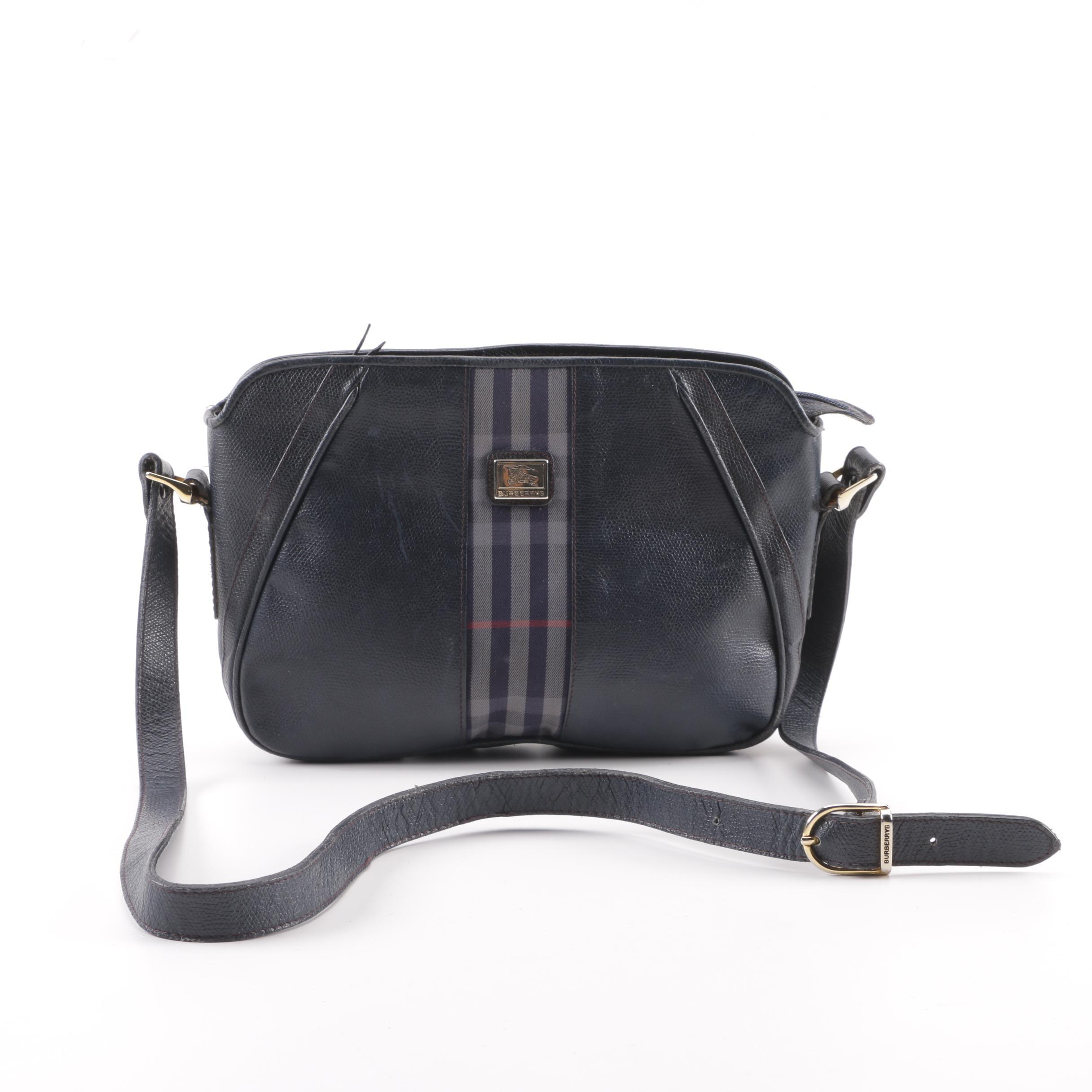 Vintage Burberry Navy Leather Plaid Stripe Shoulder Bag