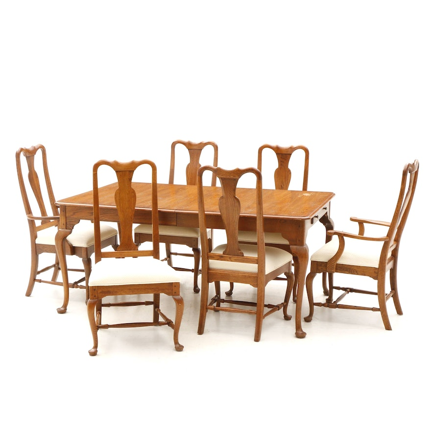 Awesome Queen Anne Style Oak Dining Table And Chairs 20Th Century Download Free Architecture Designs Scobabritishbridgeorg