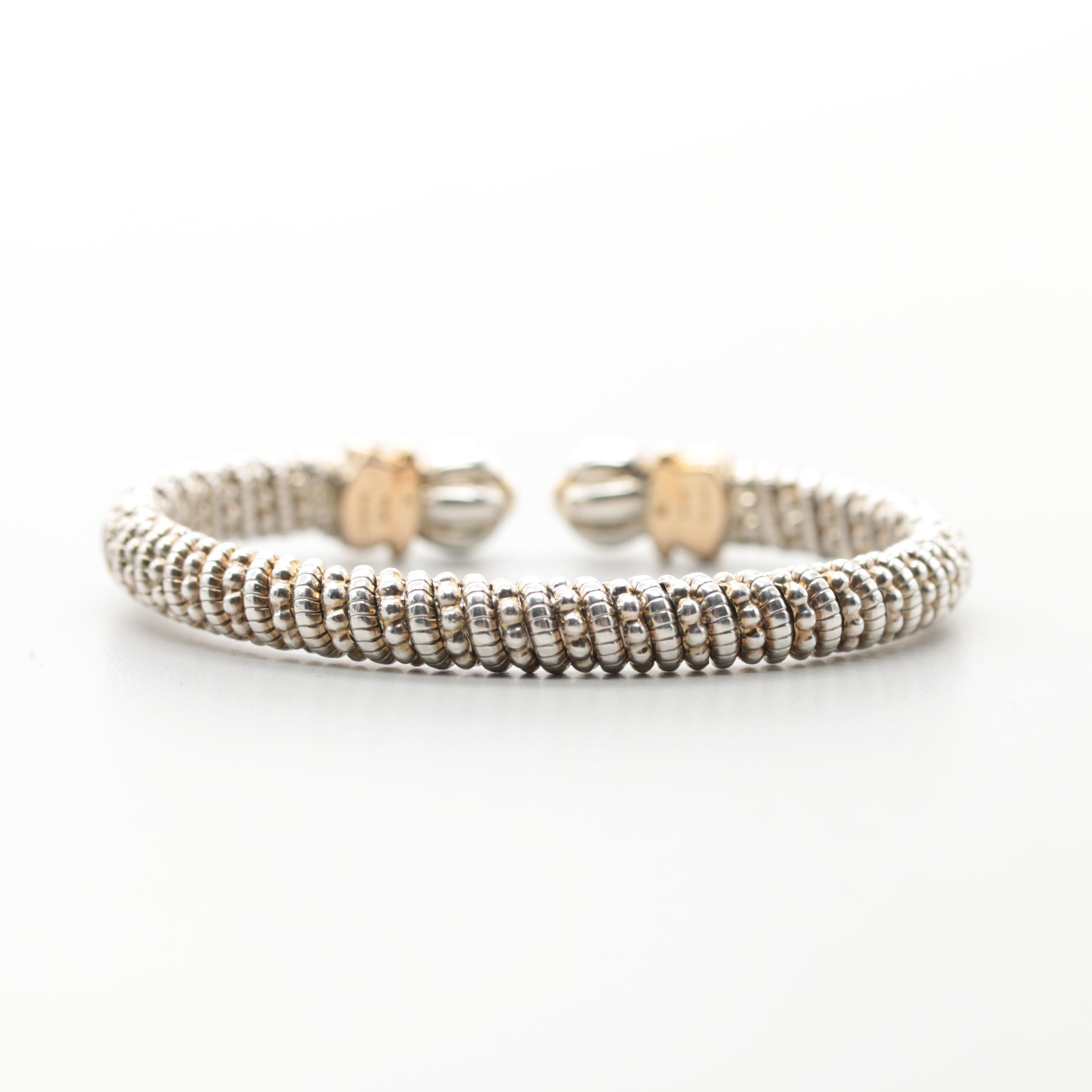 Sterling Silver and 14K Yellow Gold Cuff Bracelet