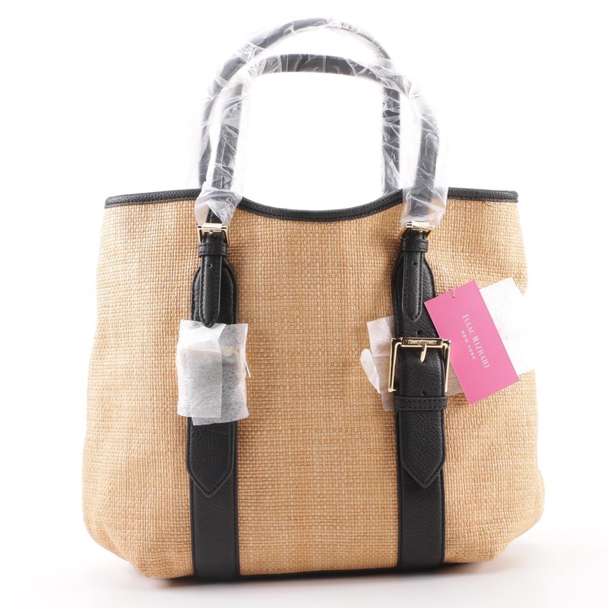 849f03a680f Isaac Mizrahi New York Lucille Woven Straw Tote : EBTH