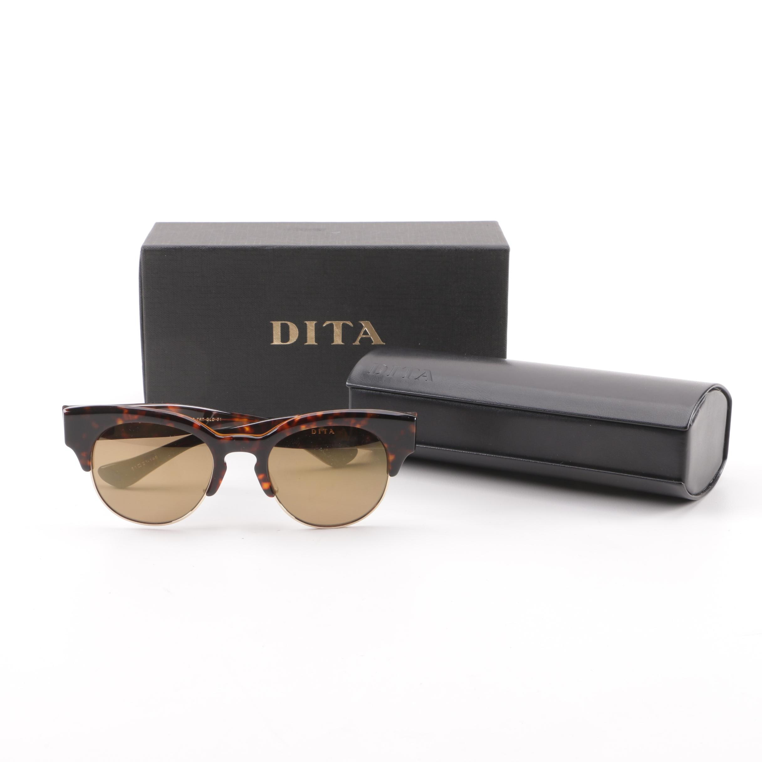 Dita Liberty 22026-B Tortoiseshell Style Browline Sunglasses with Case
