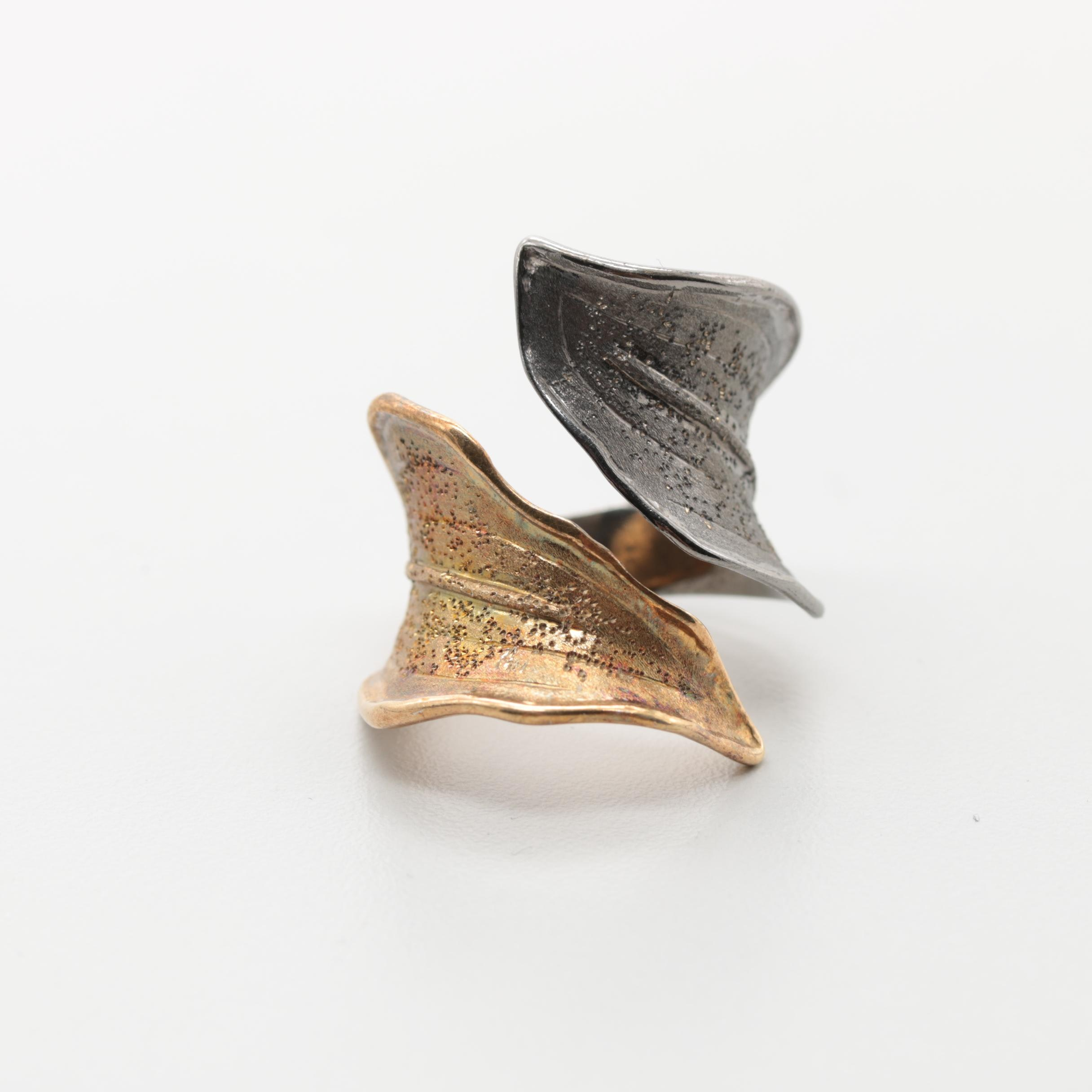 Gold Wash and Oxidized Sterling Silver Foliate Open Shank Ring