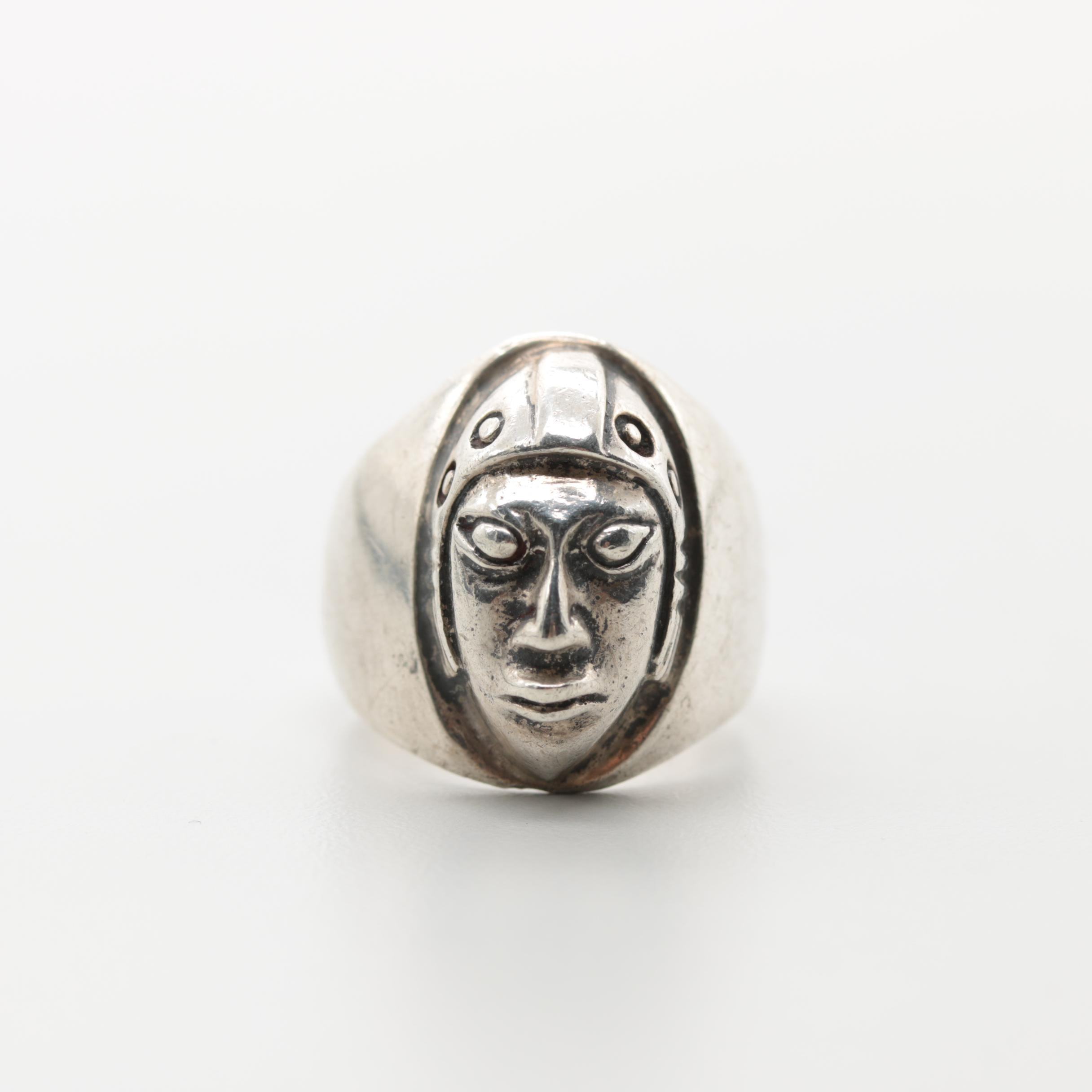 Sterling Silver Figural Head Ring