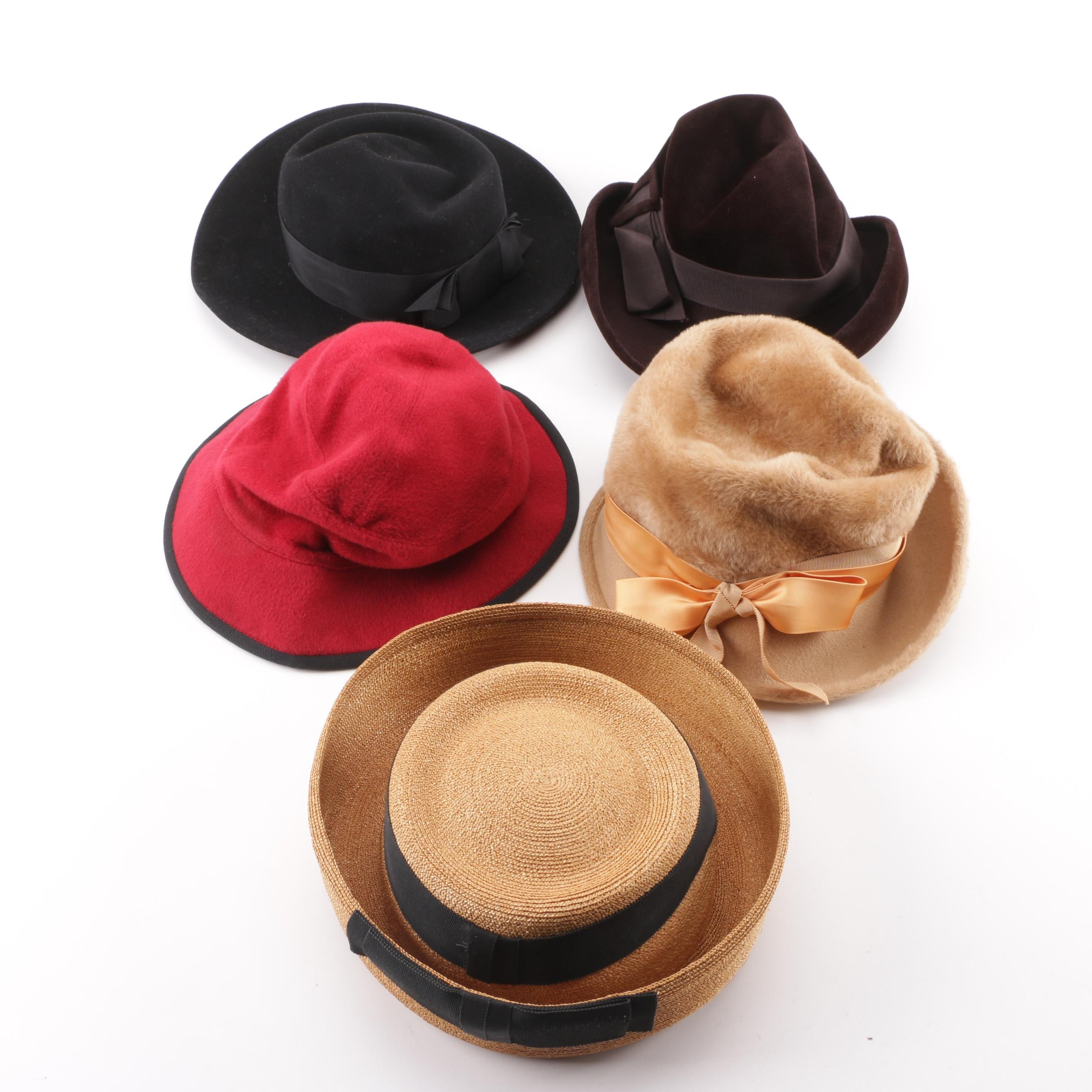 Vintage Hats Including Mr. John, Saks Fifth Avenue, Helen Kaminski, John Andrew