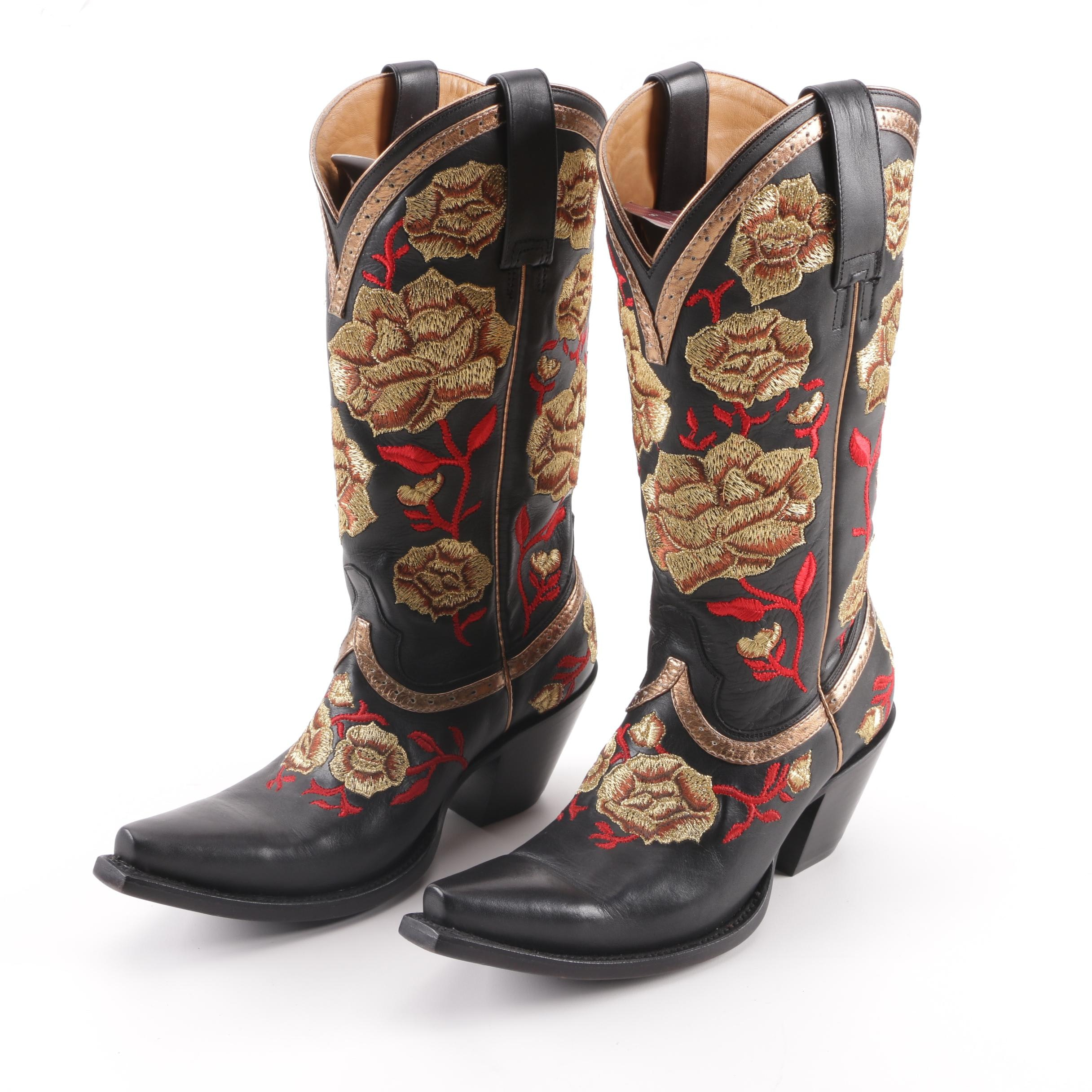 Women's Lucchese Gold and Red Rose Embroidered Black Leather Boots with Box
