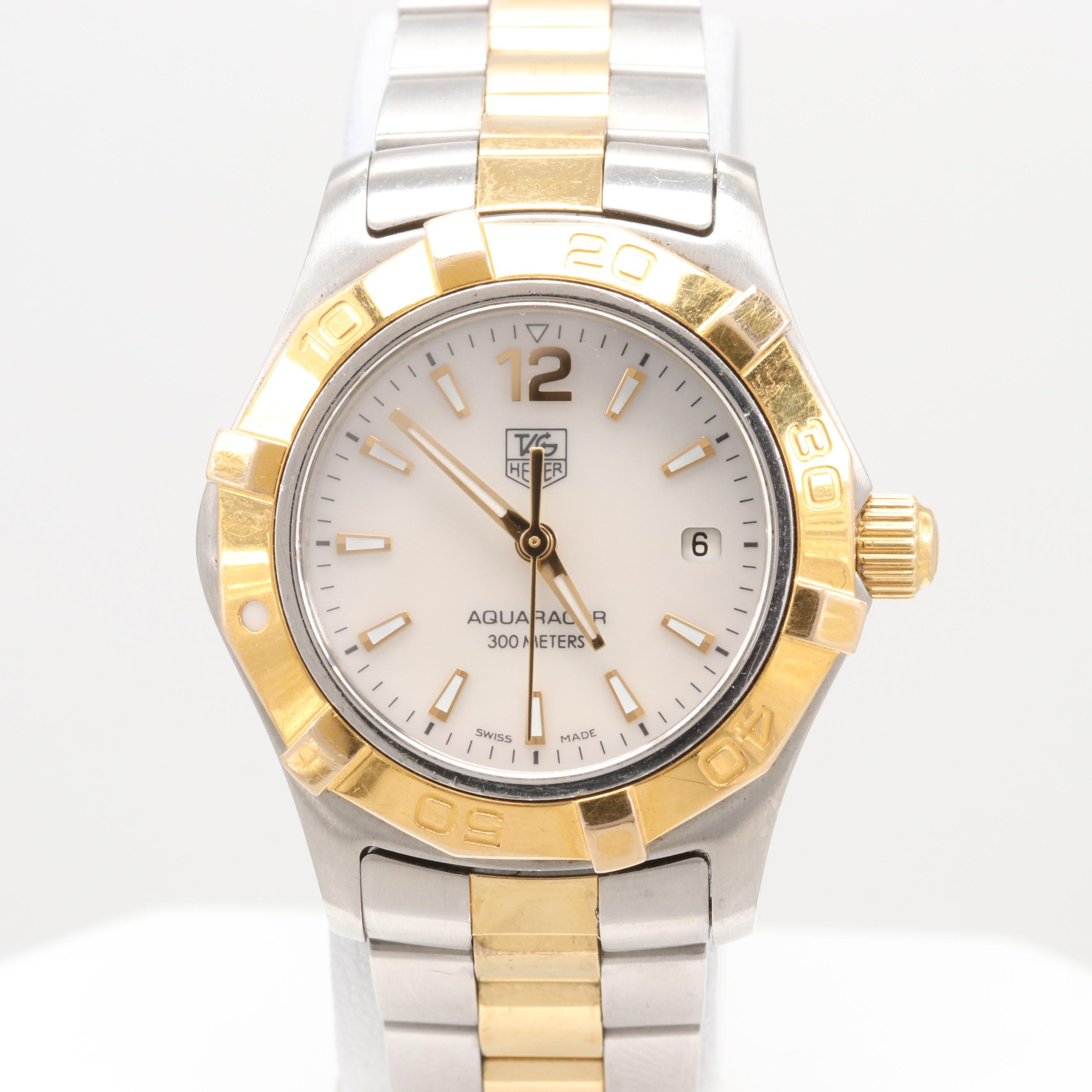 TAG Heuer Aquaracer Two-Tone Wristwatch With Mother of Pearl Dial