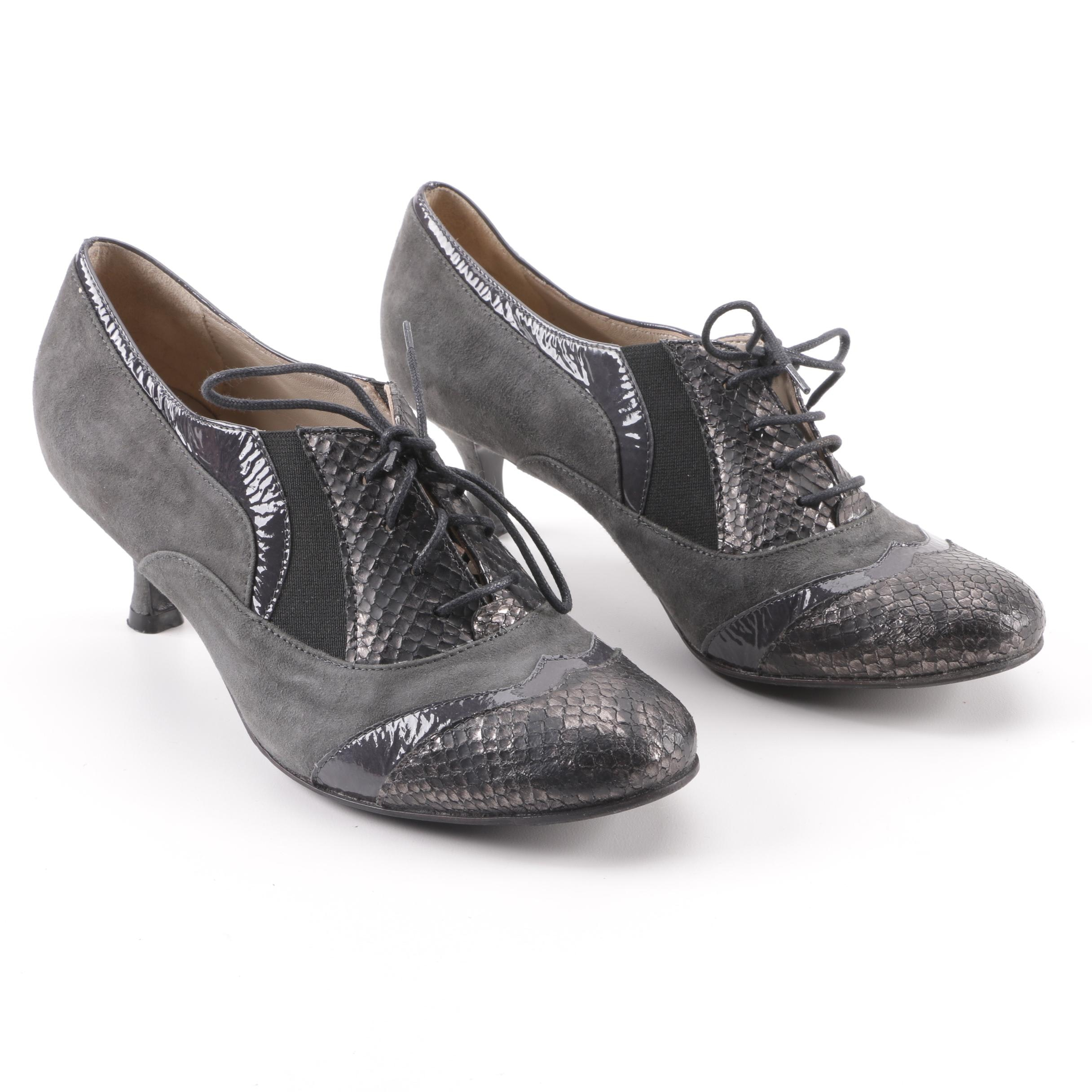 Bettina Grey Snakeskin, Suede and Leather Oxford Heels, Made in Italy