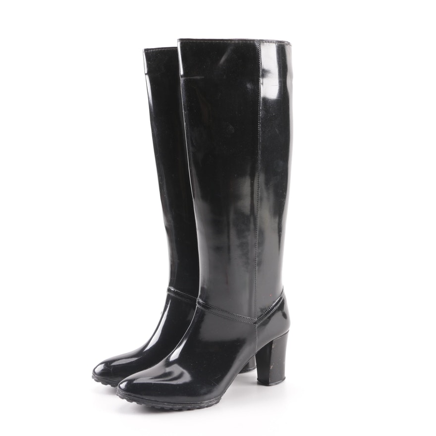 Women's Andrew Geller Black Rubber High Heeled Tall Rain Boots