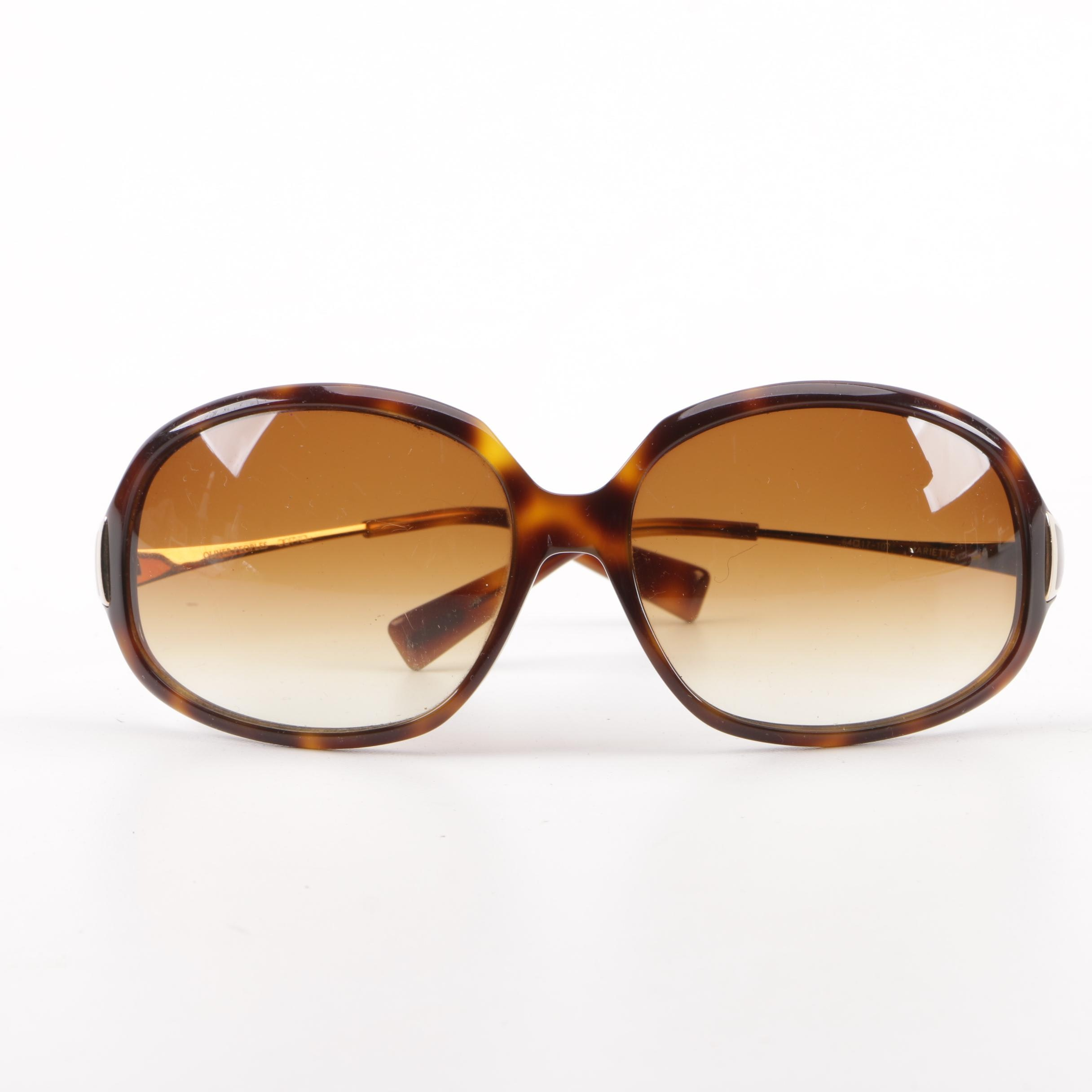1980s Vintage Oliver Peoples Mariette Tortoiseshell-Style Sunglasses