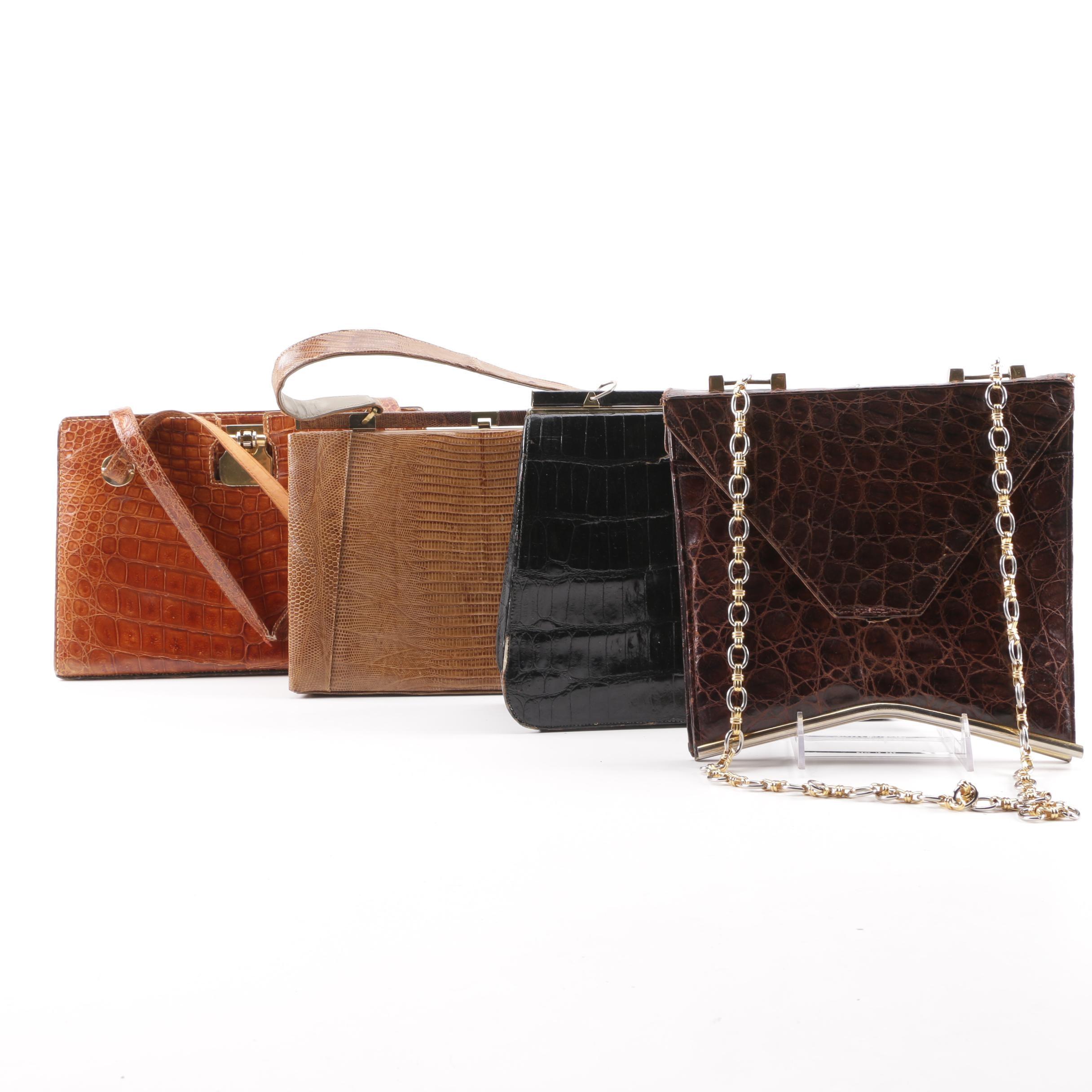 1940s-50s Vintage Lizard, Crocodile and Alligator Skin Handbags