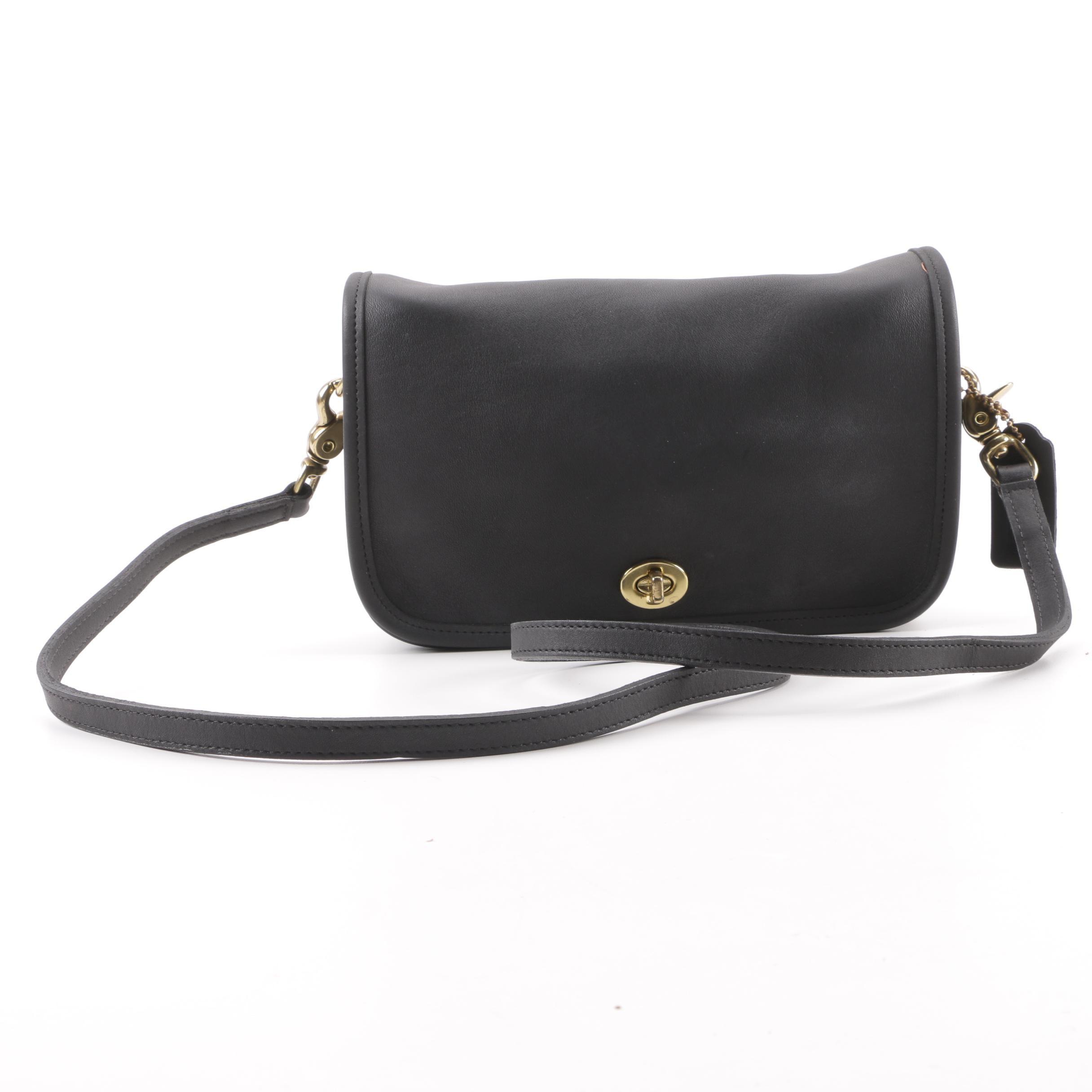 1980s Vintage Coach Black Leather Flap Front Baguette Shoulder Bag