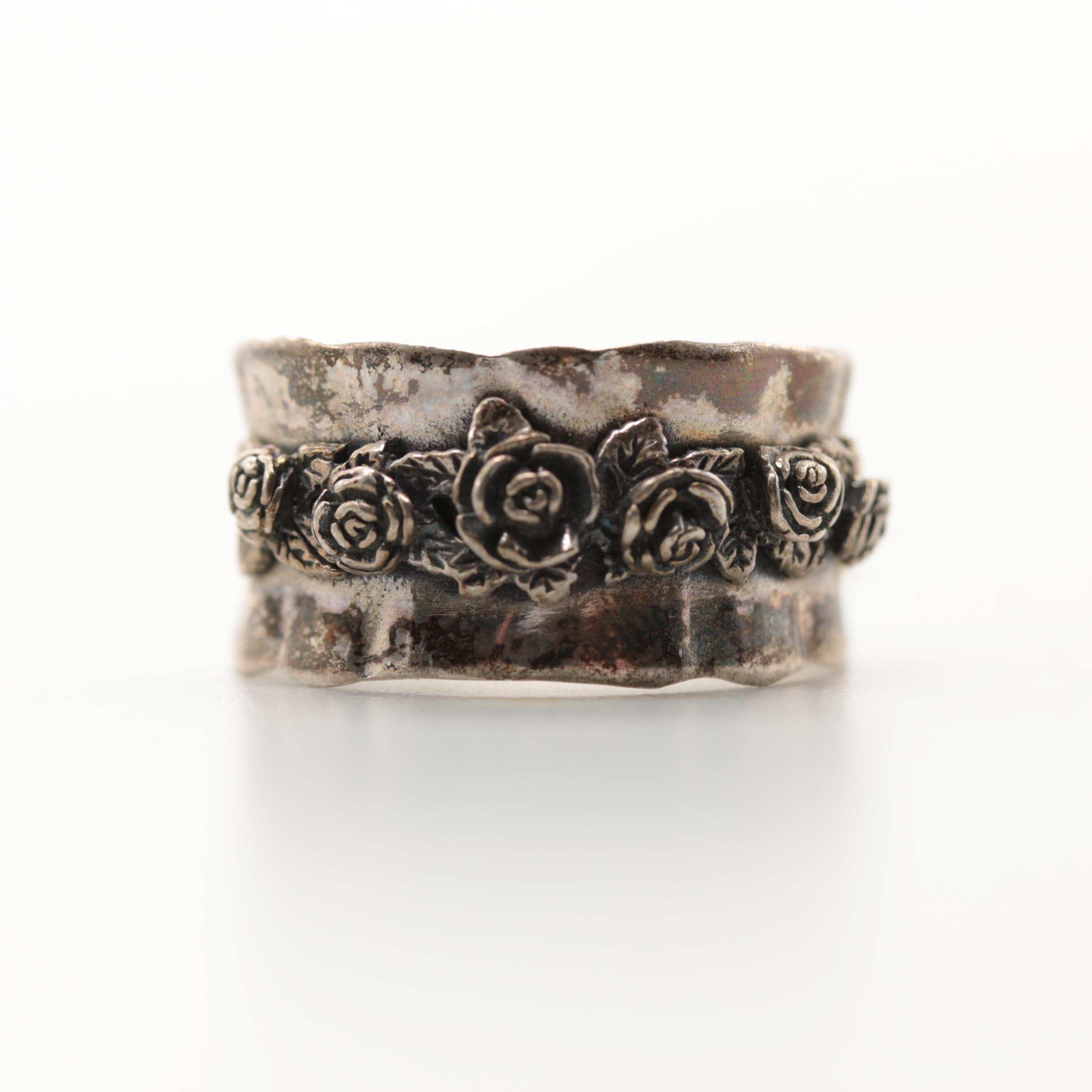 Israeli Made Sterling Silver Band with Floral Detailing