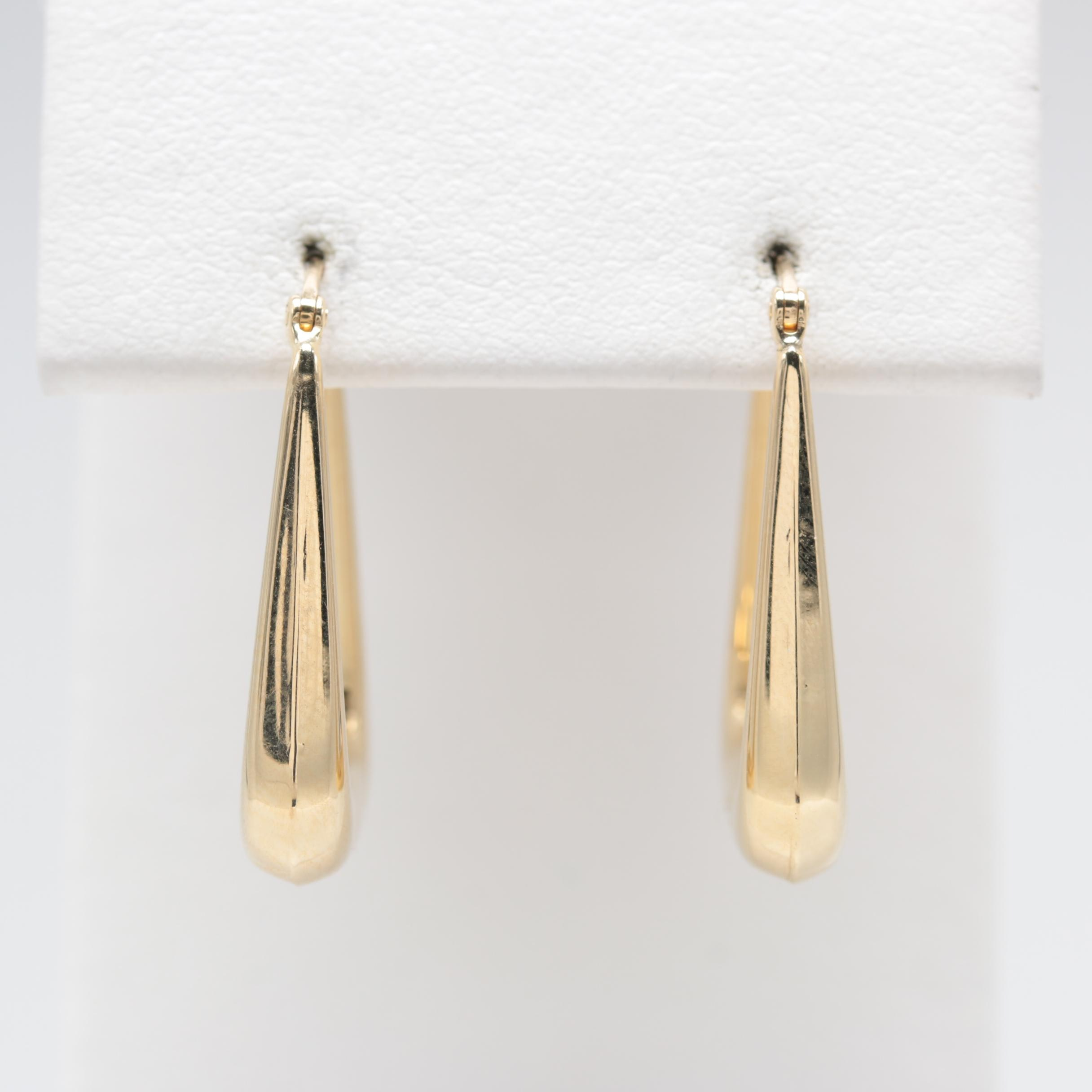 14K Yellow Gold Squared Hoop Earrings