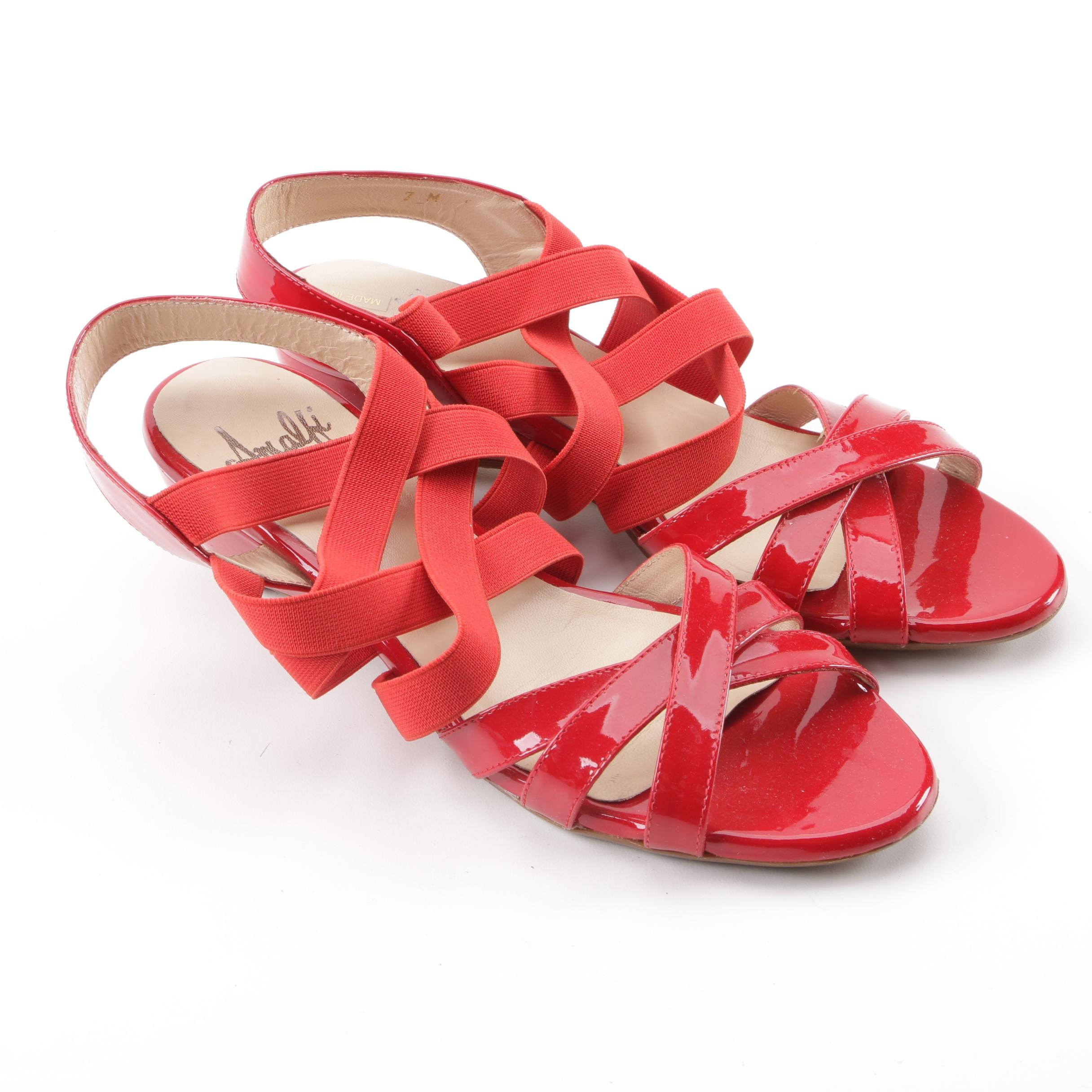 Vintage Amalfi by Rangoni Red Patent Leather Strappy Wedge Sandals