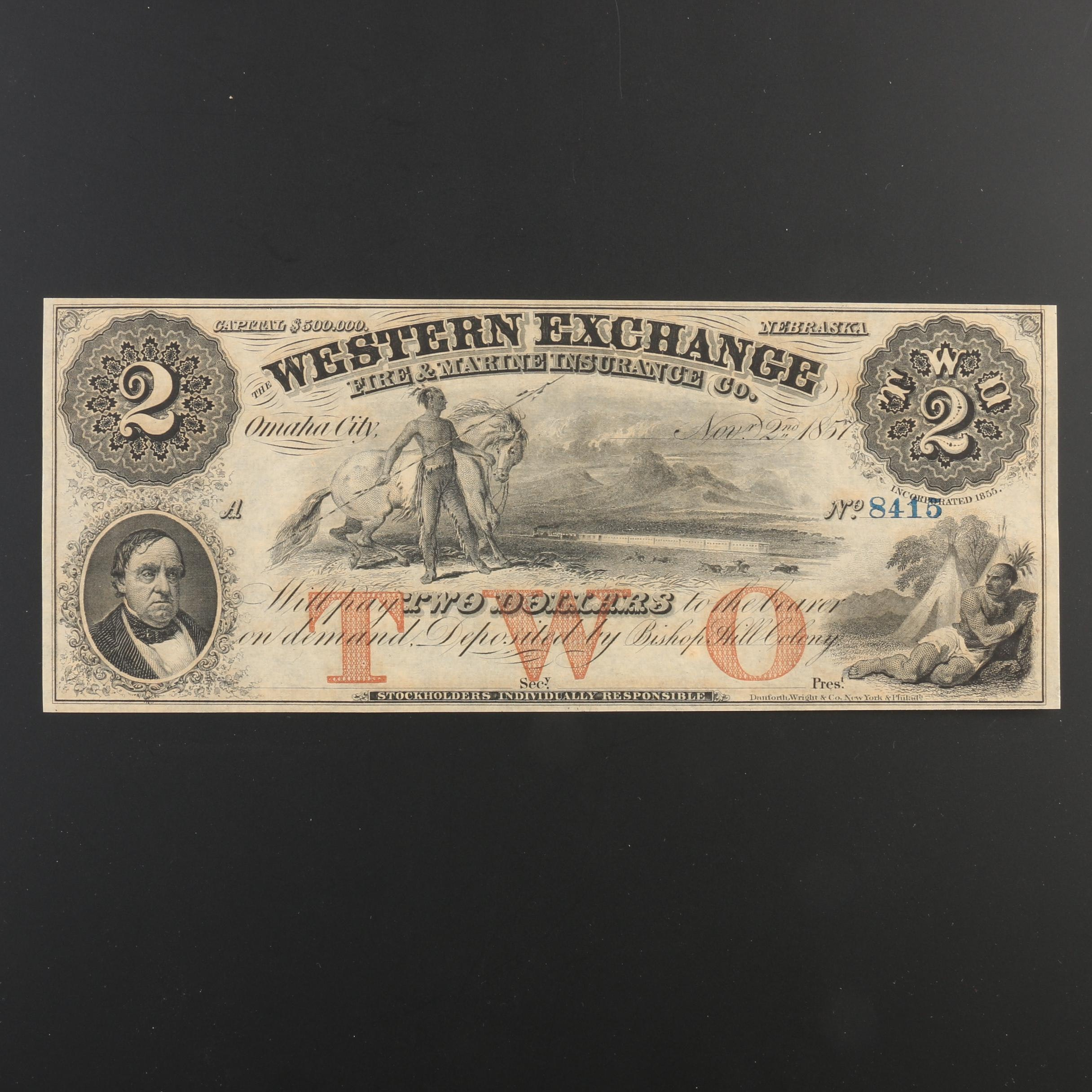 1857 $2 Currency Note from The Western Exchange Fire and Marine Insurance Co.