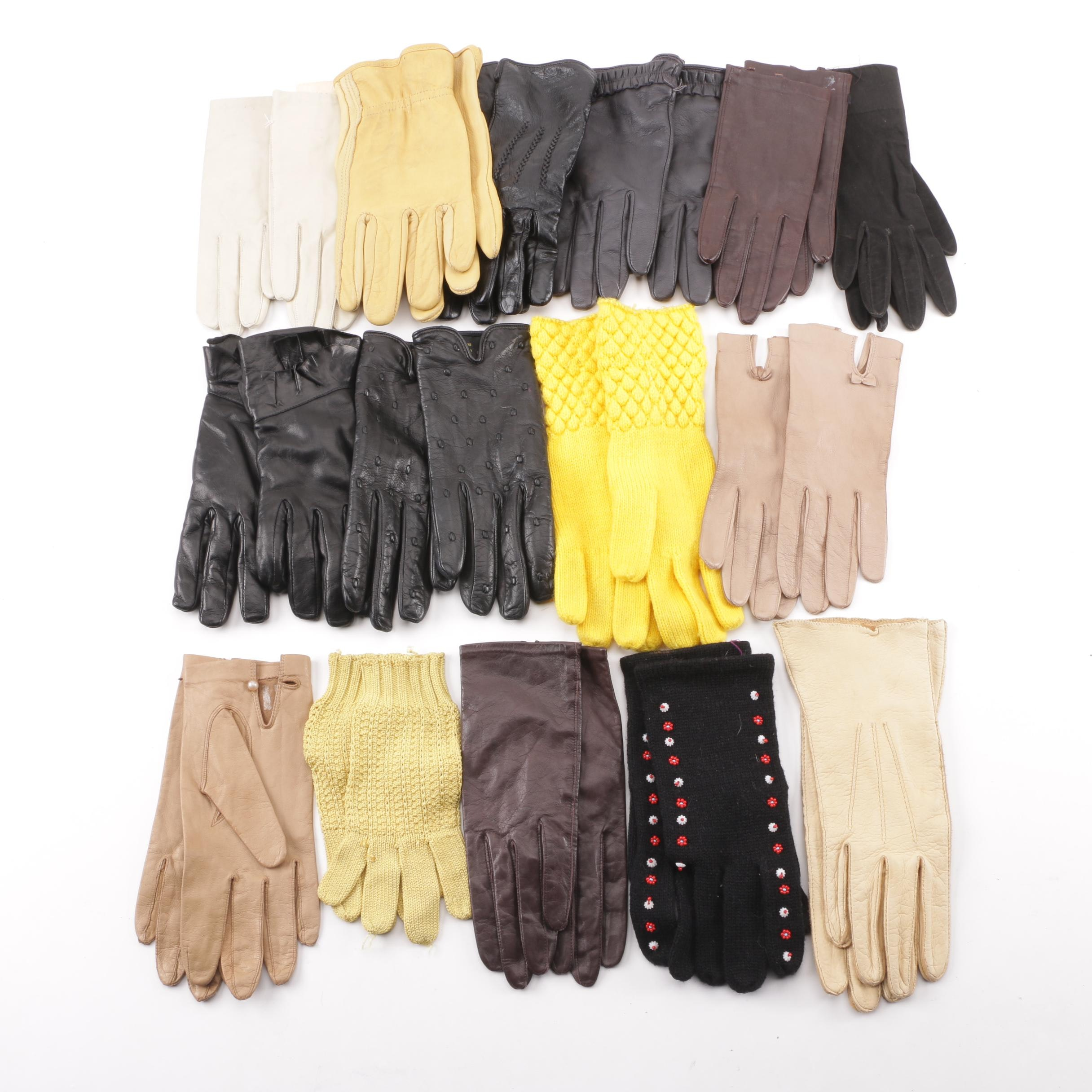 Women's Leather, Wool and Beaded Gloves including Cashmere Lined