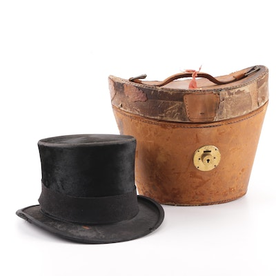 c440bdca300d6 Men s Early 20th Century Kennedy s Felted Fur Top Hat with Leather Case