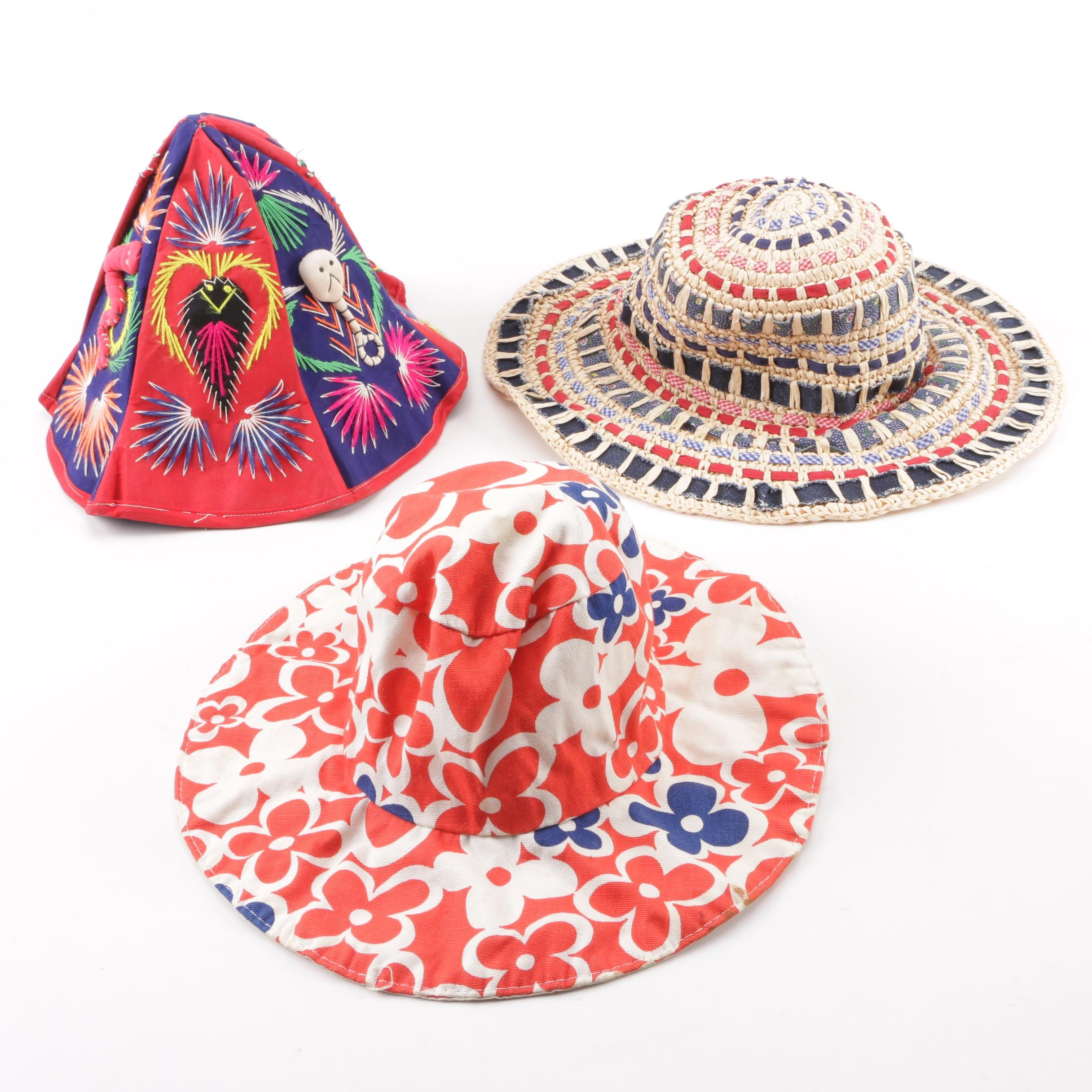 Women's Vintage Sun Hats and Embroidered Multicolor Souvenir Bucket Hat