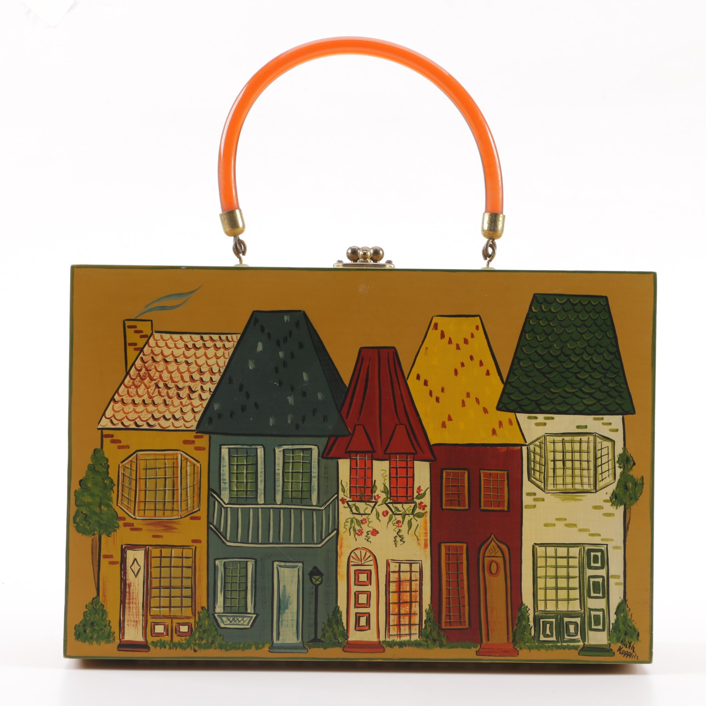Vintage Dutch Style House Motif Hand-Painted Handbag Signed by Artist