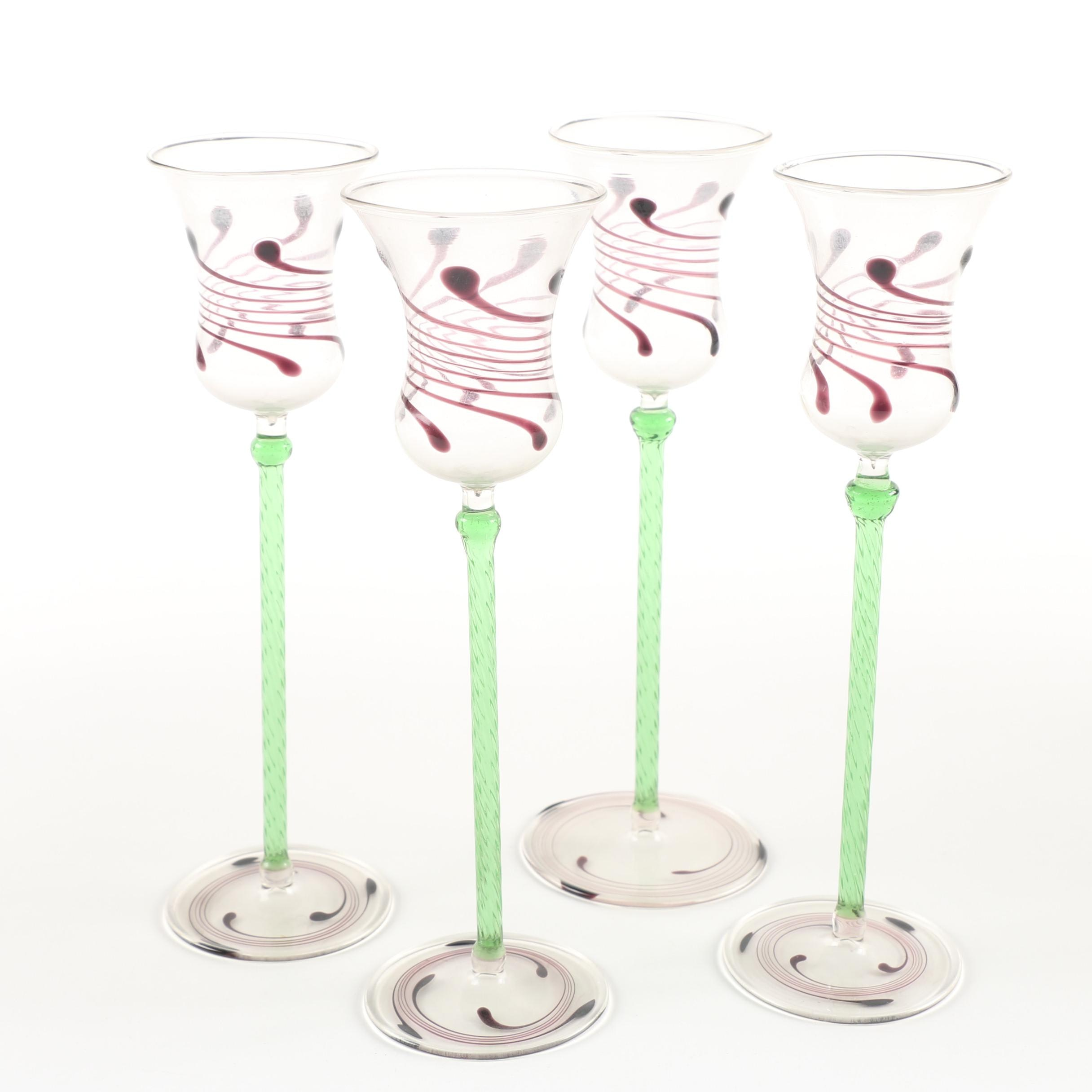 Swirl Motif Blown Glass Cordial Glasses with Green Stems