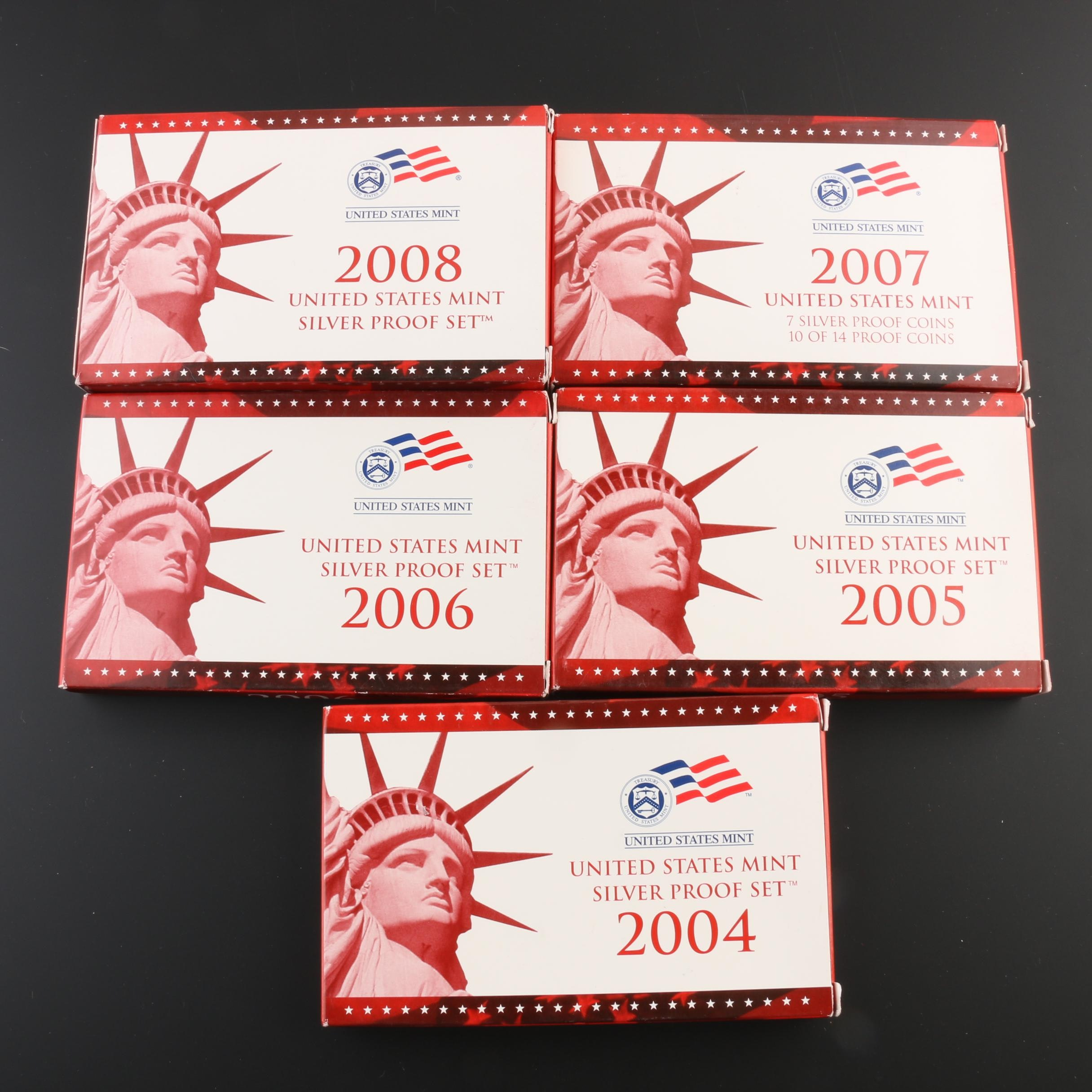 Five U.S. Mint Silver Proof Sets, 2004 to 2008