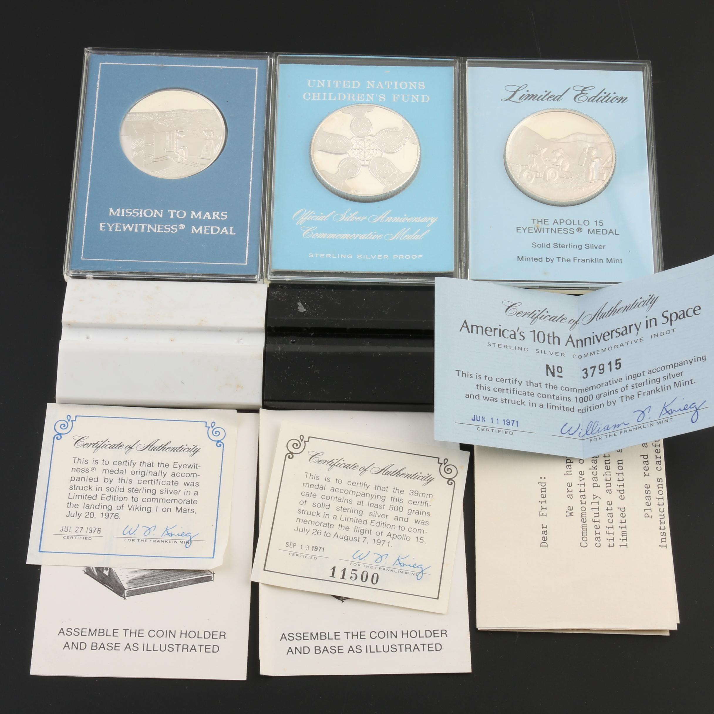 Three Commemorative Franklin Mint Silver Proof Medals