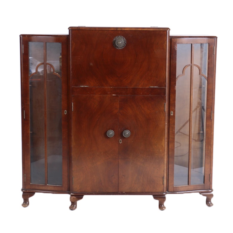 English Art Deco Walnut Cocktail Cabinet by Turnidge, Circa 1930