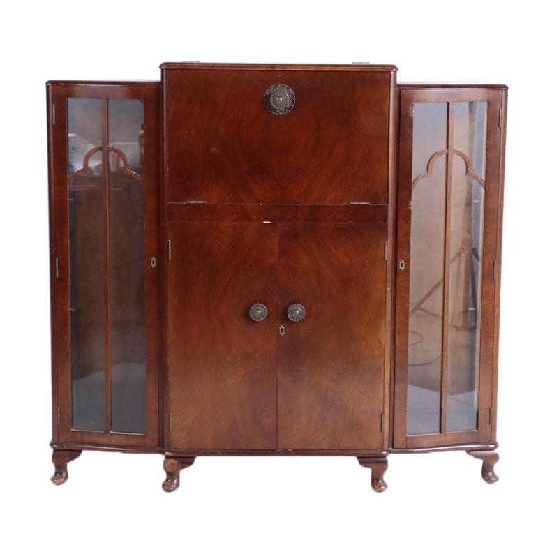 English Art Deco Walnut Cocktail Cabinet by Turnidge, Circa 1930