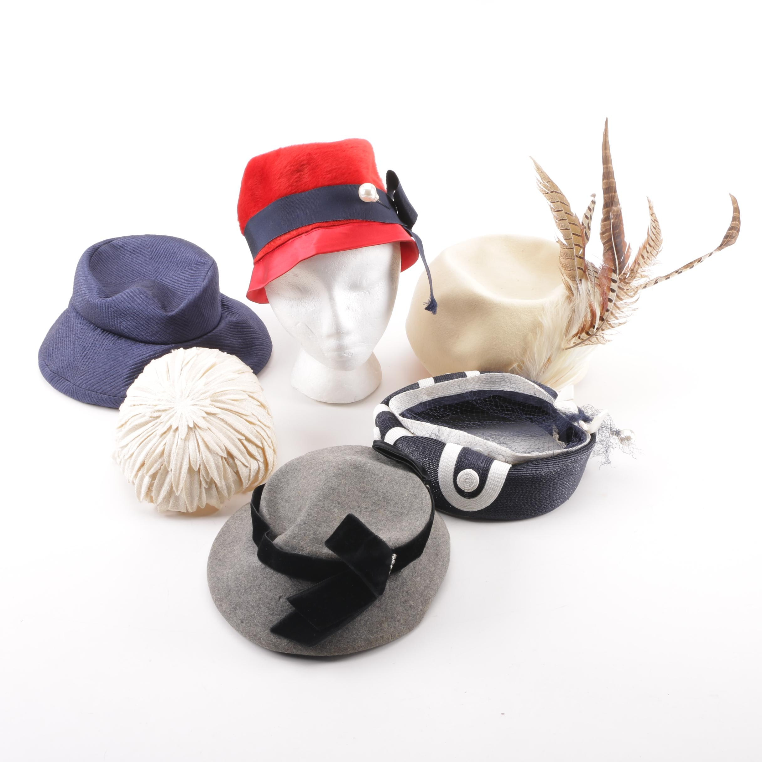 Women's 1950s and 1960s Vintage Hats including Mr. Charles and Mr. John