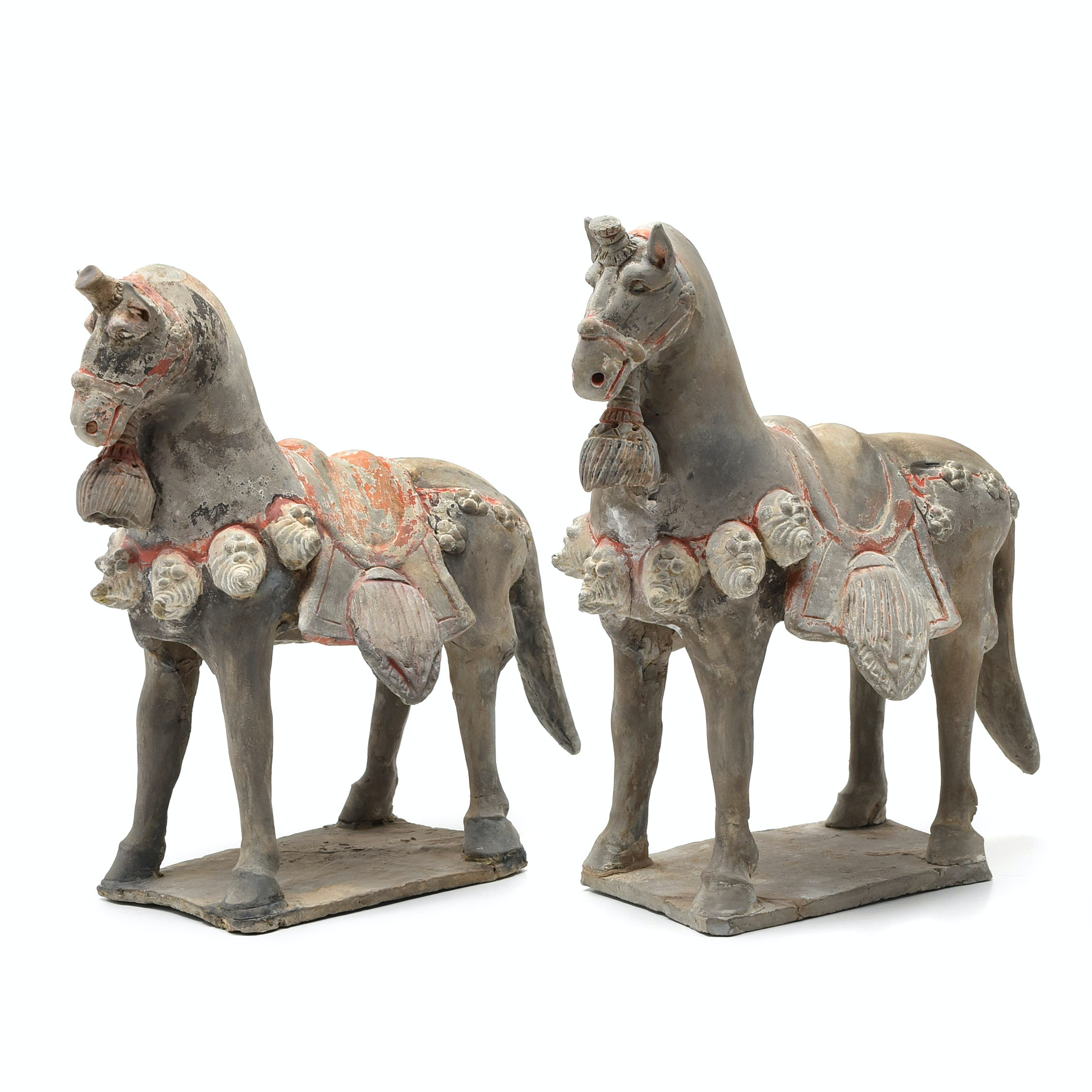 Rare Chinese Tang Dynasty Black and Red Polychromed Ceramic Horses