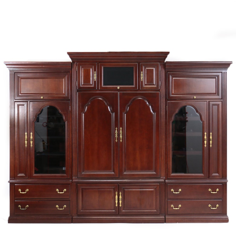 Mahogany-Stained Modular Entertainment Center by Hooker Furniture, 20th Century