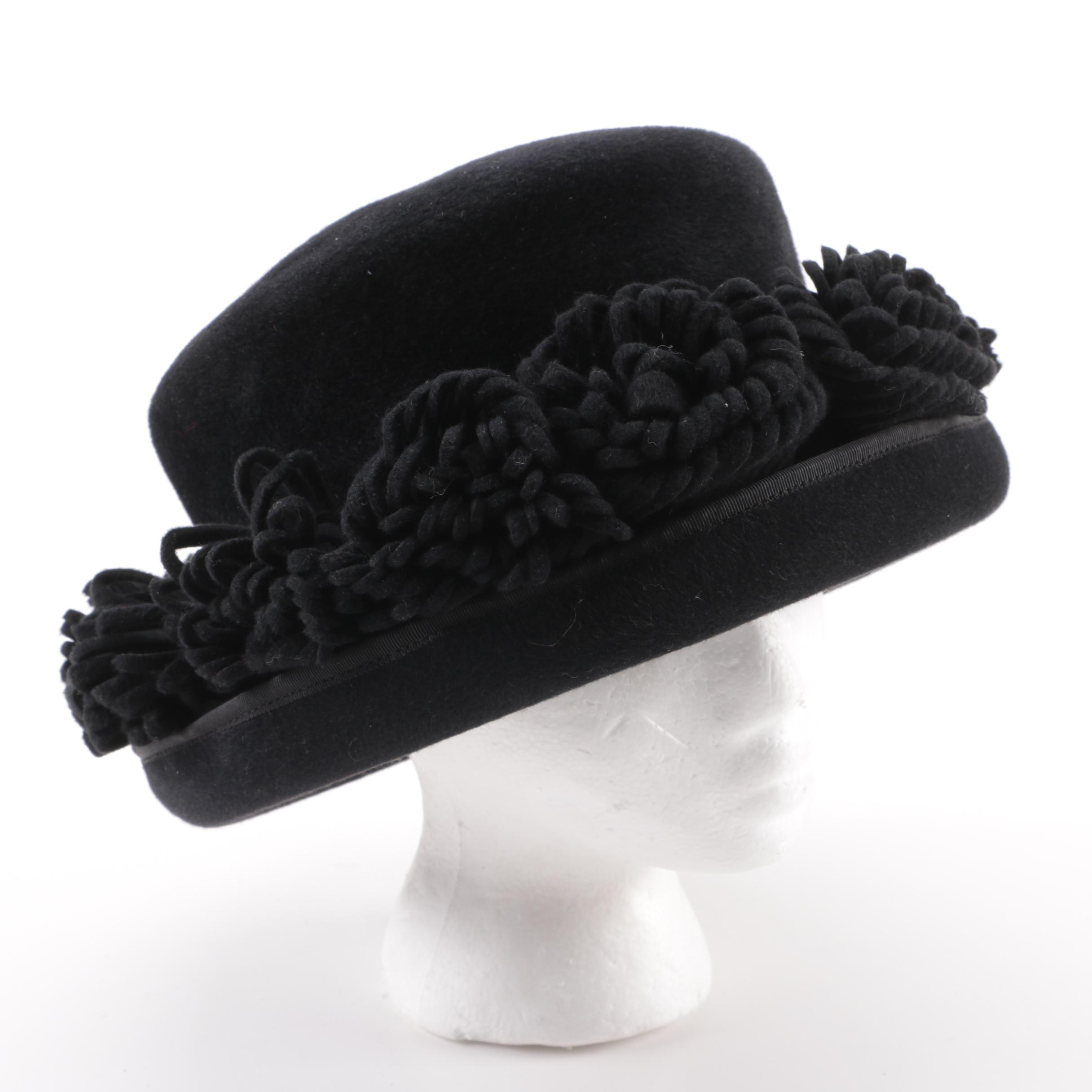 Women's Bailey Tomlin London Black Floral Felted Beaver Fur Bumper Brim Hat
