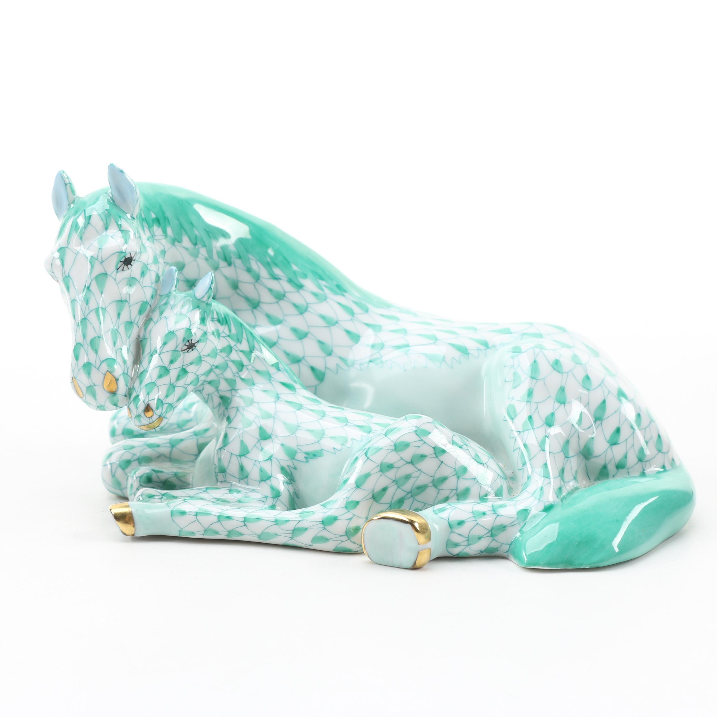 """Herend First Edition Green Fishnet with 24K Gold """"Mare with Foal"""" Figurine"""