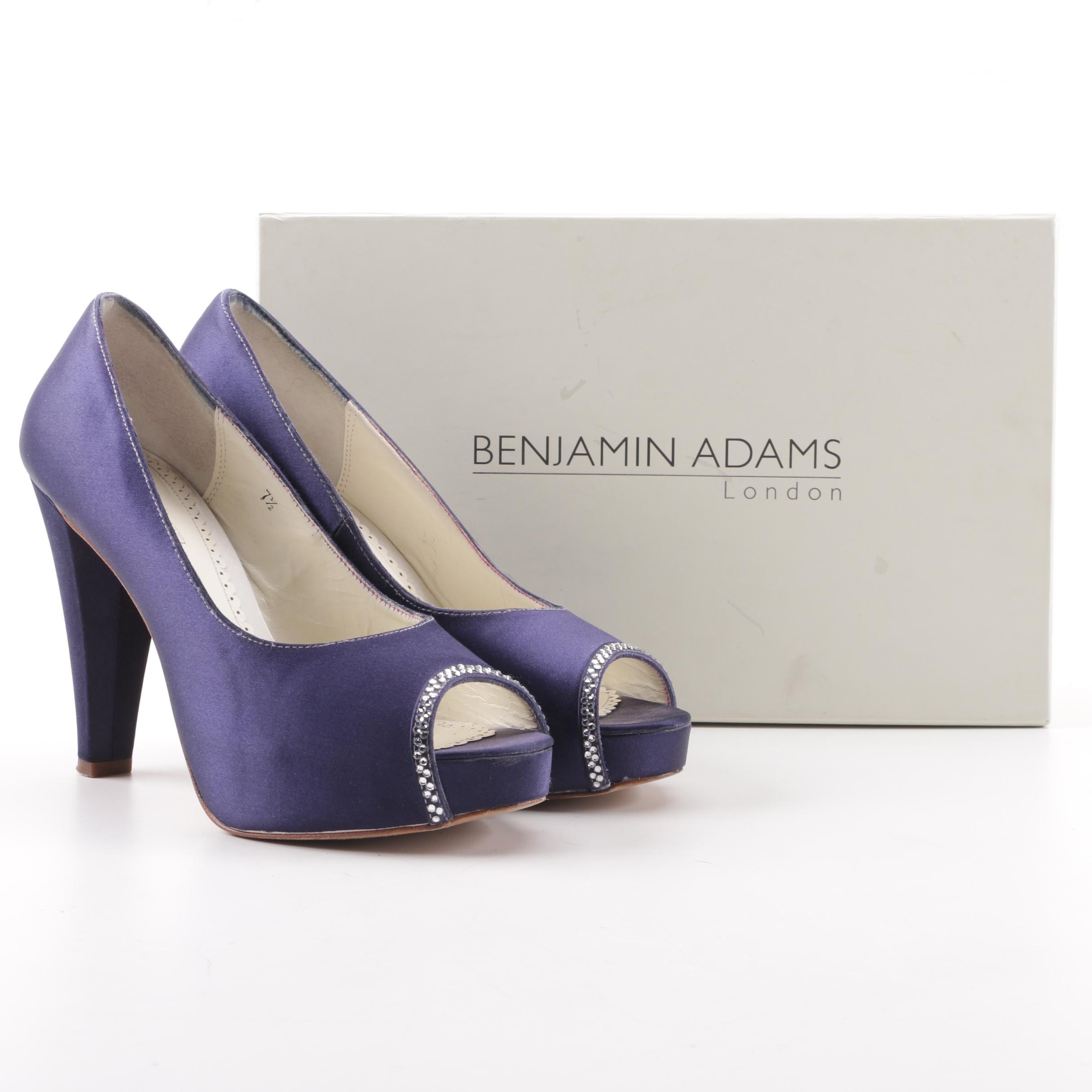 Benjamin Adams Scarlet Duchesse Dyed Purple Silk Heels with Swarovski Crystals