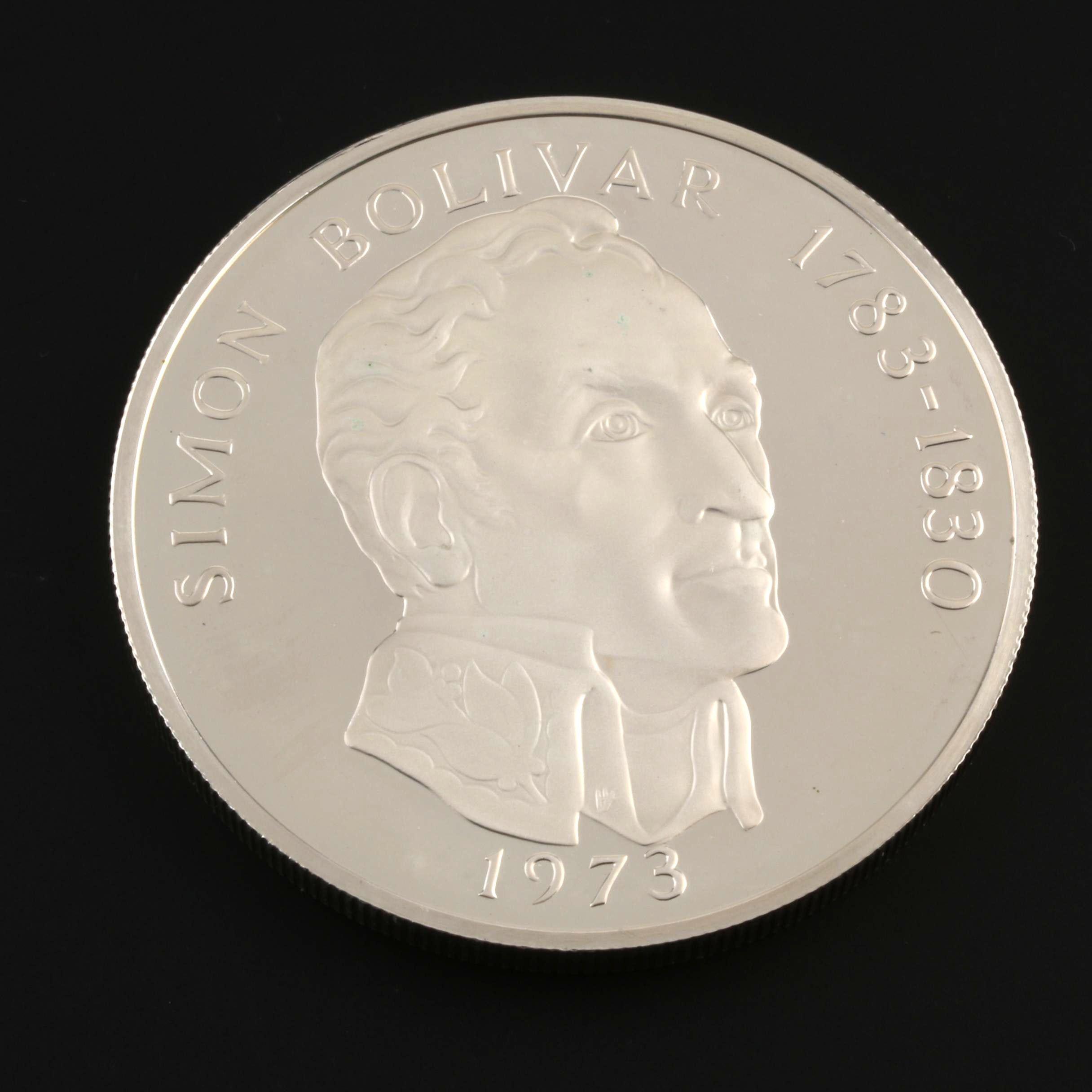 1973 Large Silver Proof 20 Balboas Commemorative Coin From Panama