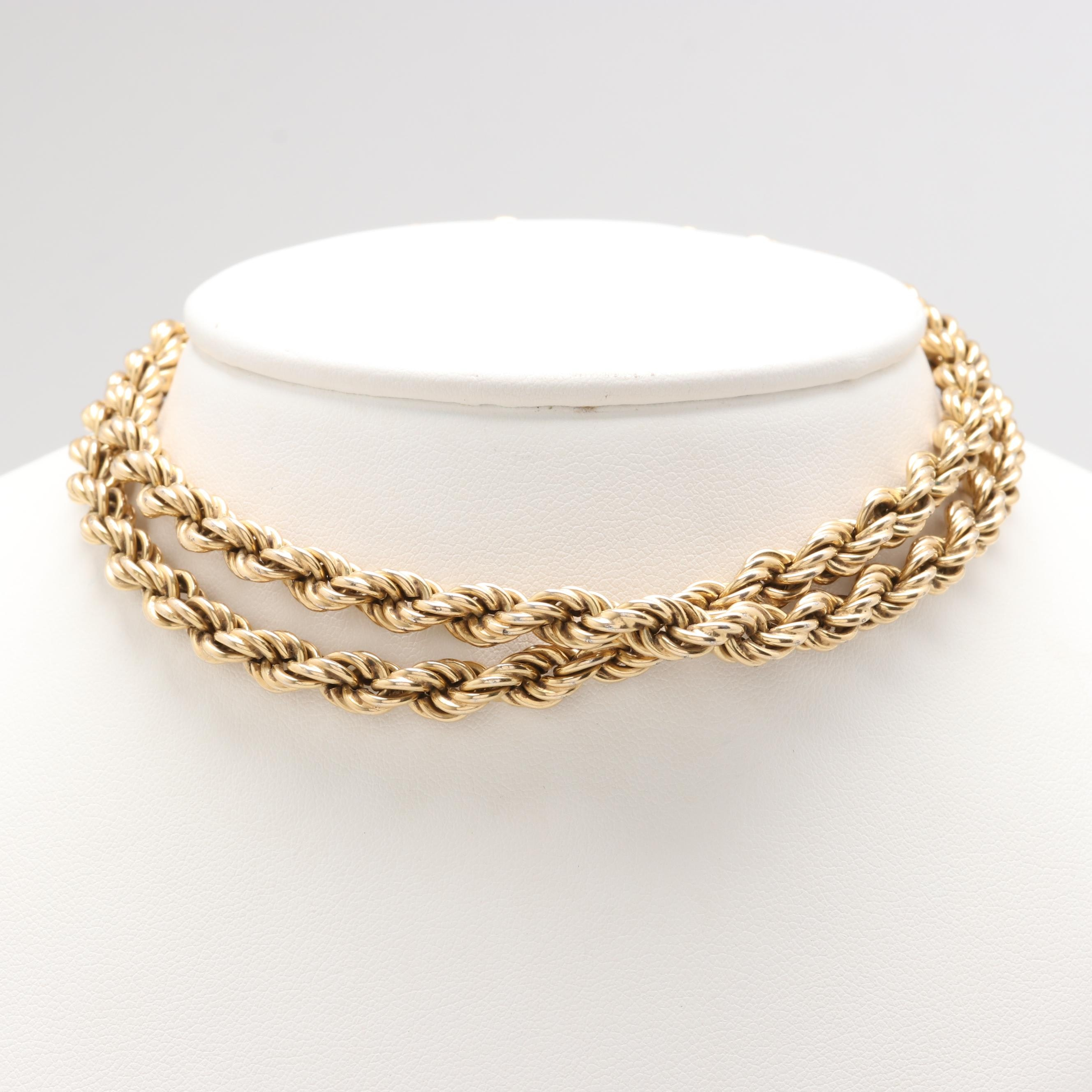 Gold Wash on Sterling Silver Rope Chain Necklace