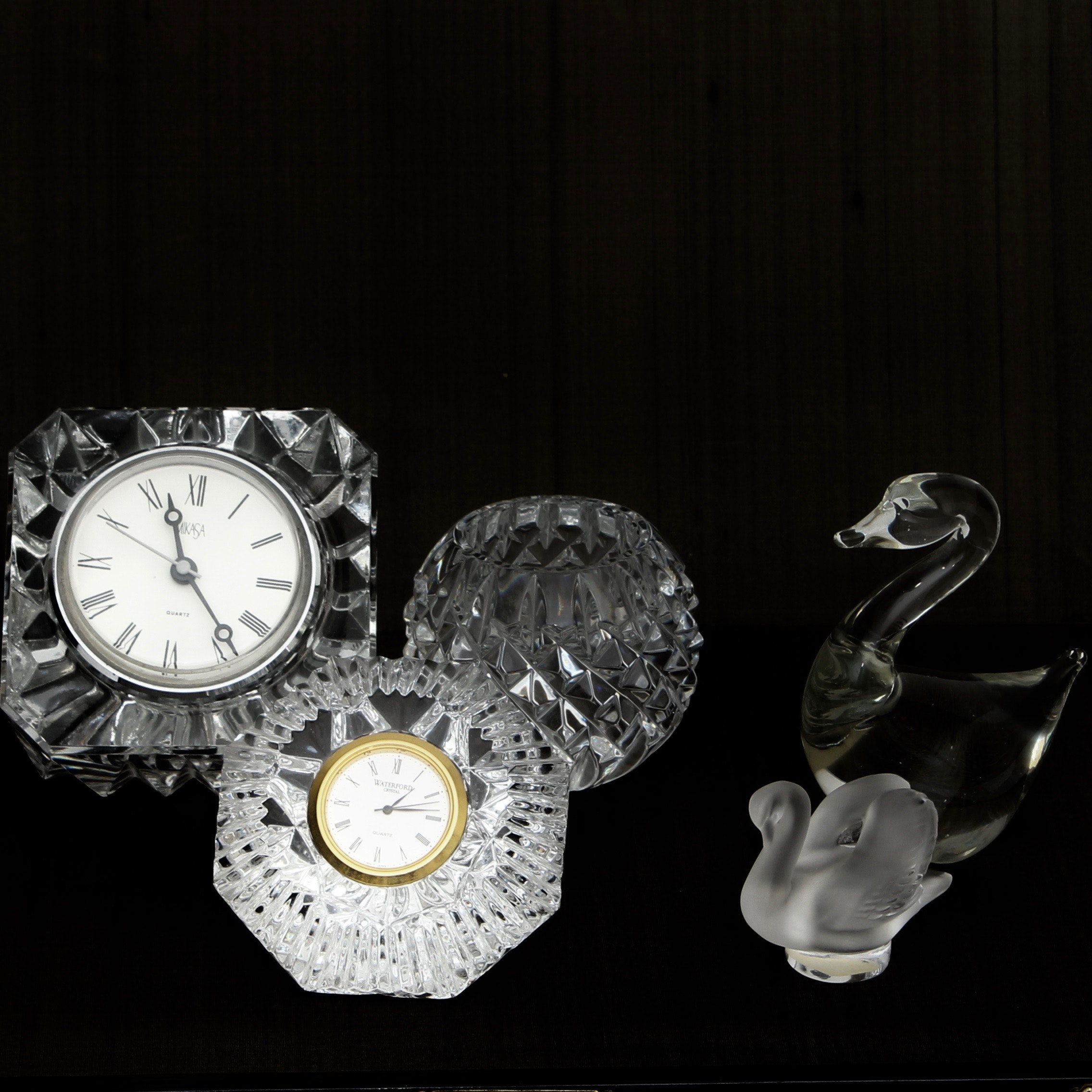 Crystal Waterford and Mikasa Desk Clocks and Swan Figurines