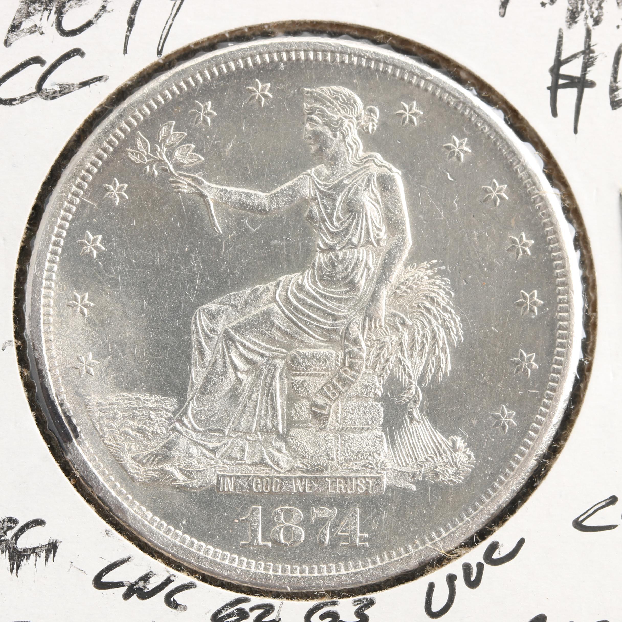 1874 Carson City Silver Trade Dollar