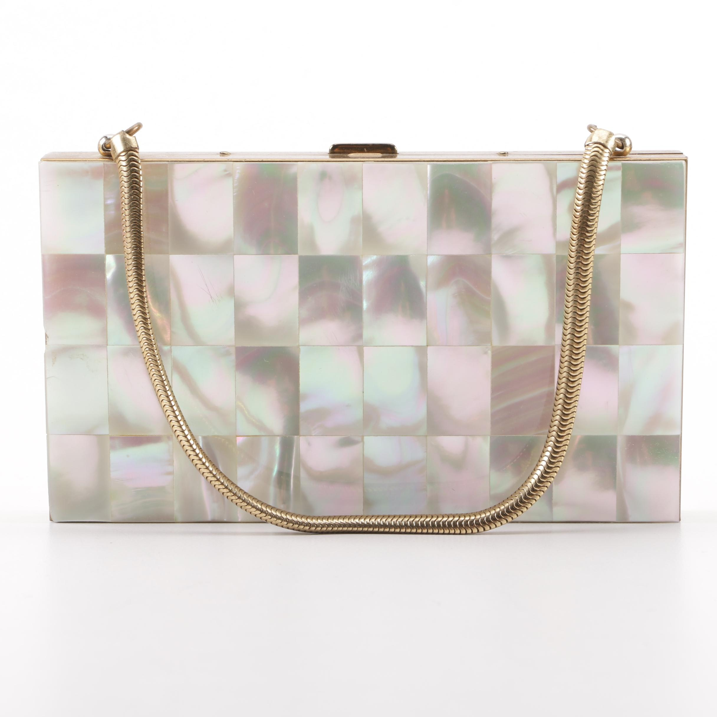 1950s Mother of Pearl Compact Evening Clutch