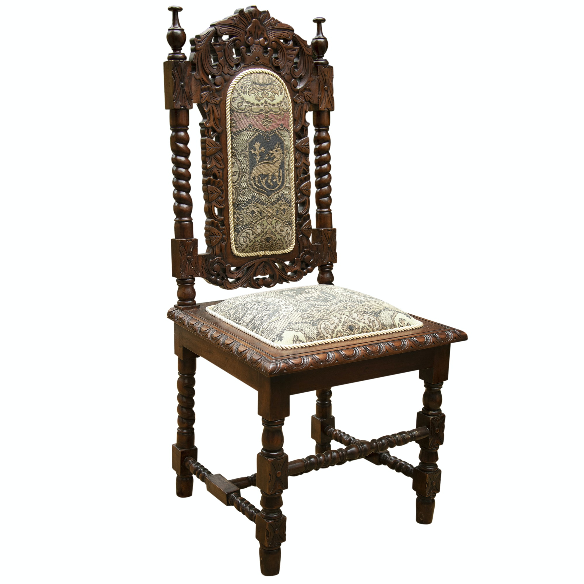 Jacobean Revival Style Walnut Chair, Early 20th Century